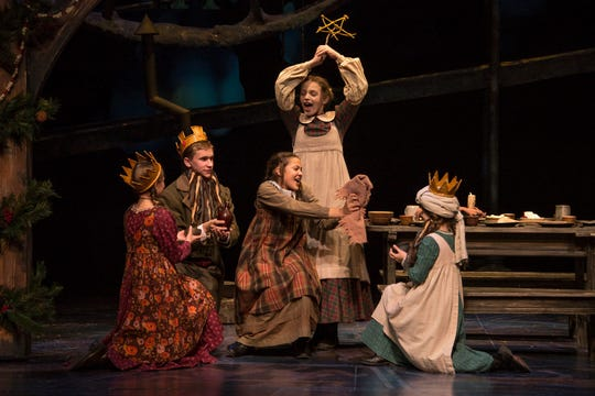 "The Cratchit kids act out their Christmas play in a scene from the Clarence Brown Theatre's ""A Christmas Carol."""