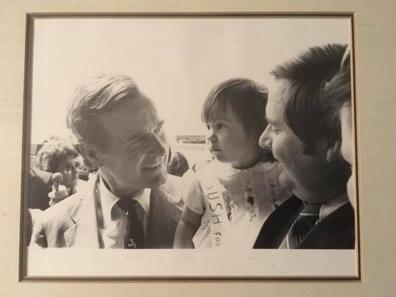 In 1980, then-presidential candidate George H.W. Bush made a stop in Knoxville for a reception. He greeted  1-year-old Ashley Krieg and her father, former state Rep. Dick Krieg.