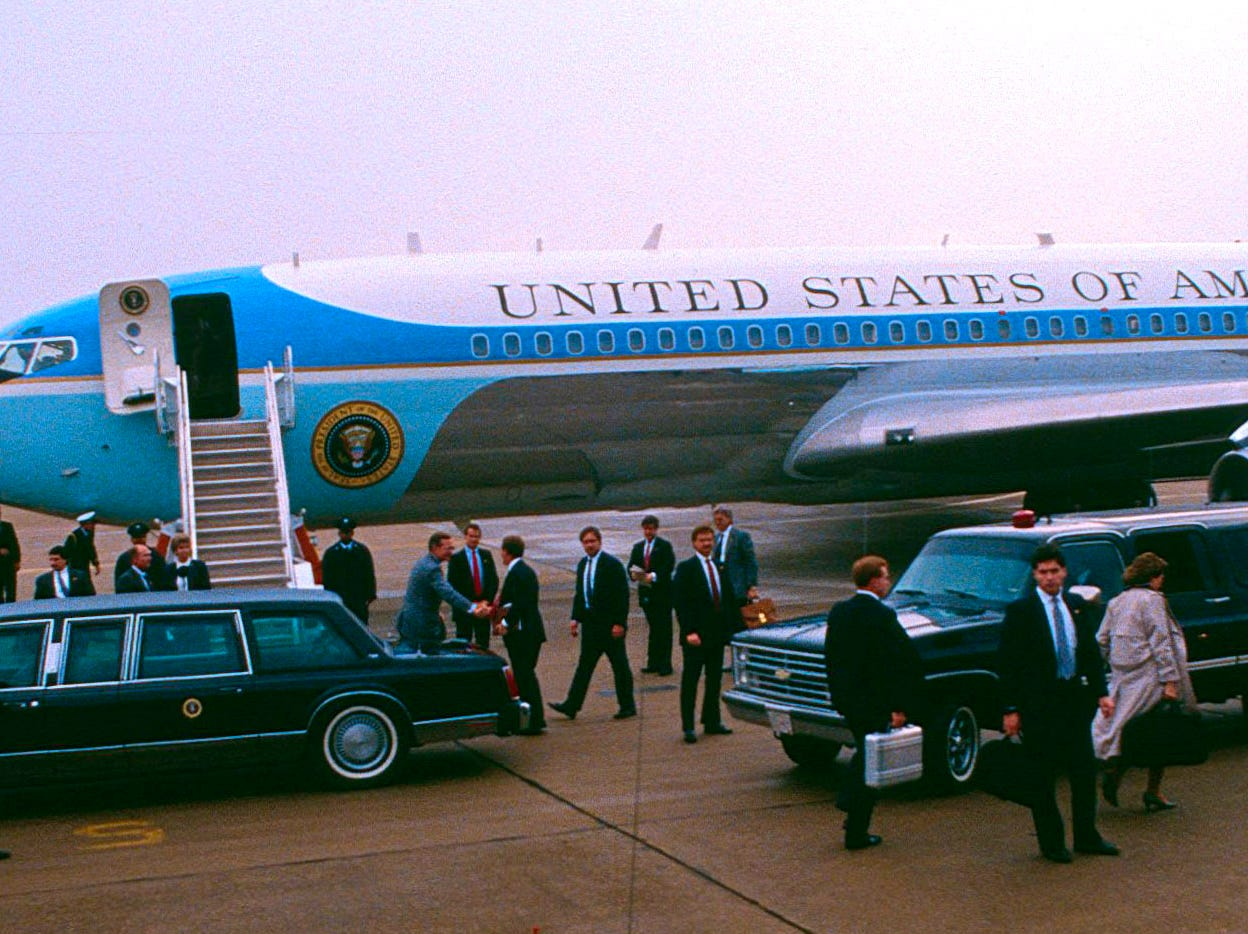 President George H.W. Bush departs after his visit on Feb. 2, 1990, at McGhee Tyson Air National Guard Base.