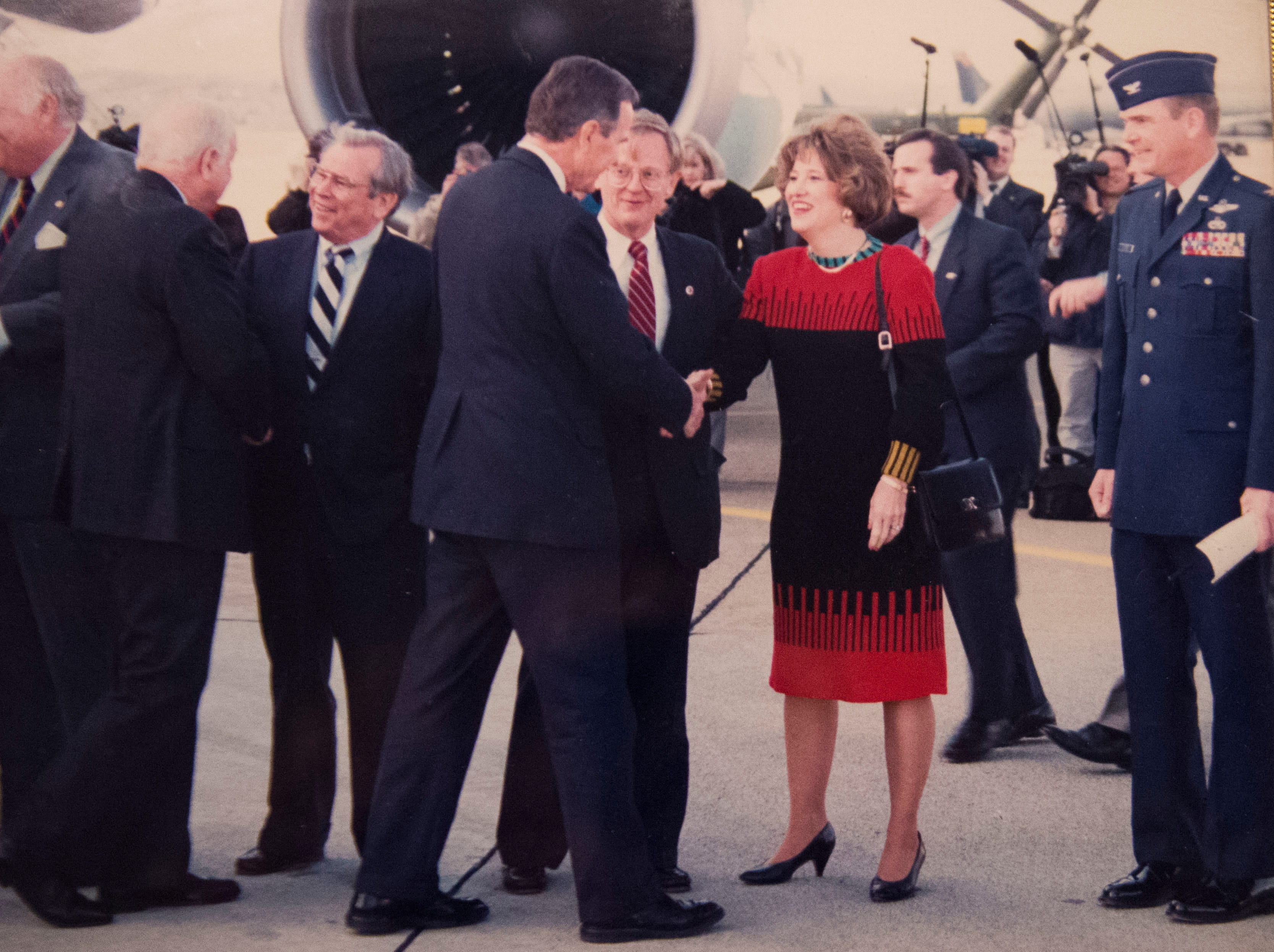 Among dignitaries greeting President George H.W. Bush in Knoxville in 1992 were, from left, Gov. Ned McWherter, U.S. Rep. Jimmy Quillen (back turned) Sen. Howard Baker, Victor and Joan Ashe, and base commander Col. Fred Forster. Bush was making a campaign stop for re-election but lost in November to Bill Clinton.
