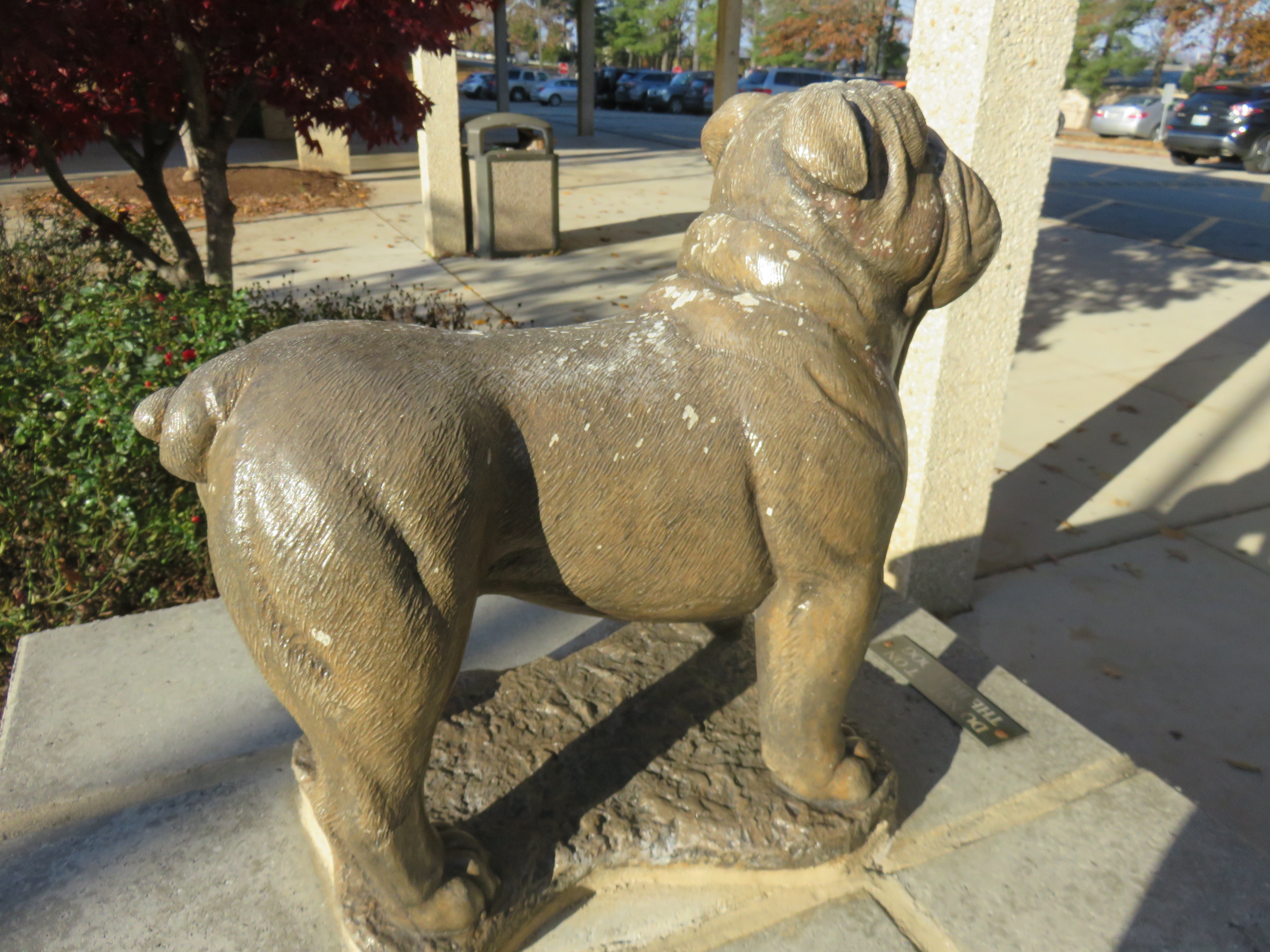 "Bearden High ""Bulldog"" statue outside the school"