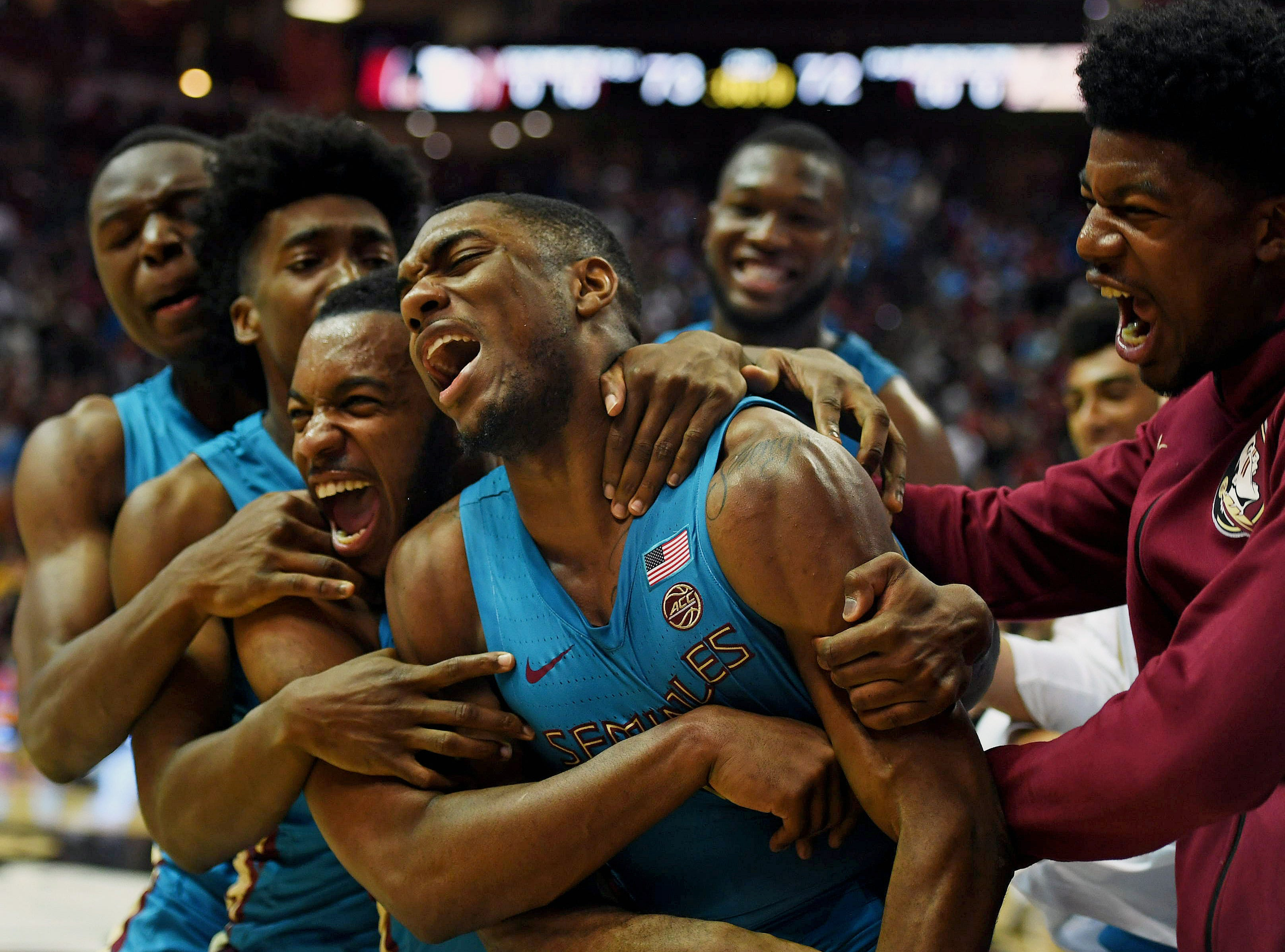 Nov 28, 2018; Tallahassee, FL, USA; Florida State Seminoles guard Trent Forrest (3) celebrates with teammates after defeating the Purdue Boilermakers at Donald L. Tucker Center. Mandatory Credit: Melina Myers-USA TODAY Sports