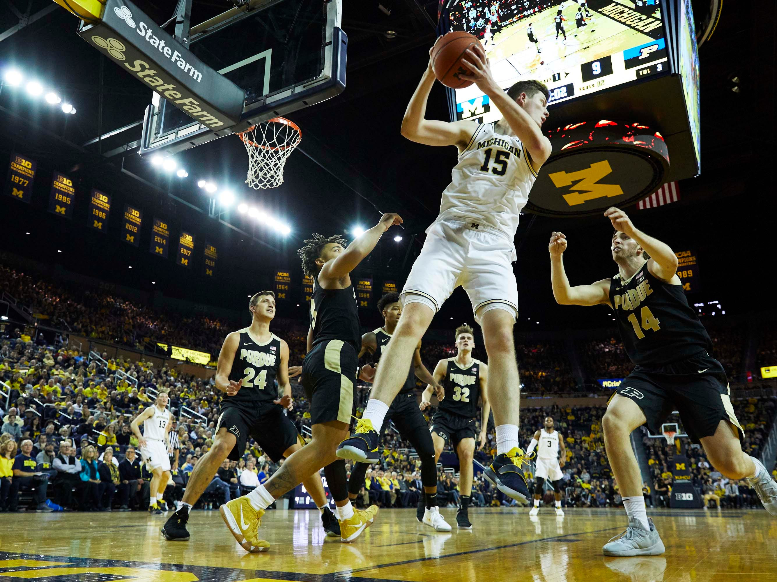 Dec 1, 2018; Ann Arbor, MI, USA; Michigan Wolverines center Jon Teske (15) before the race in the first half against the Purdue Boilermakers at Crisler Center. Mandatory Credit: Rick Osentoski-USA TODAY Sports