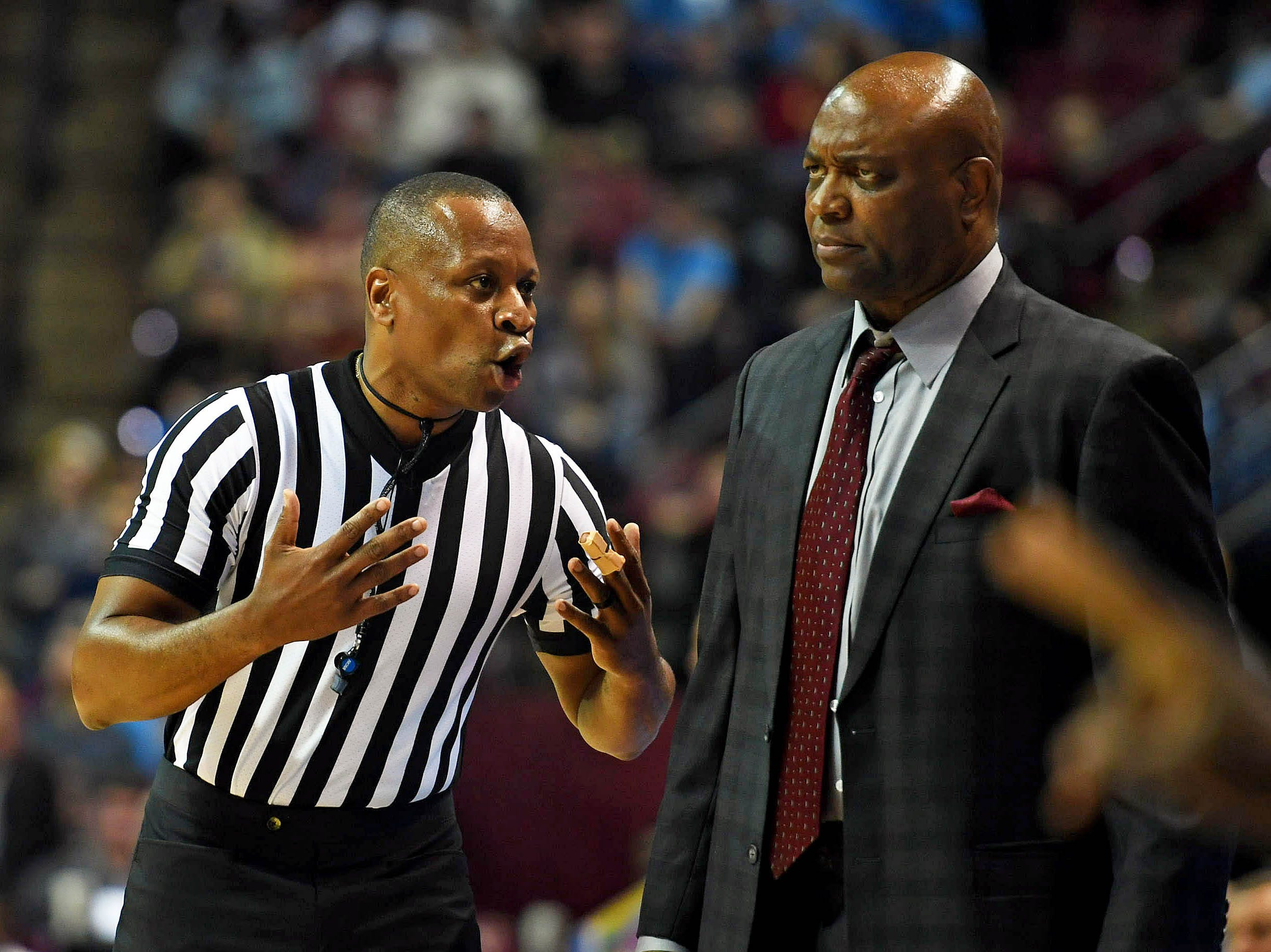 Nov 28, 2018; Tallahassee, FL, USA; Florida State Seminoles head coach Leonard Hamilton speaks with a referee during the second half of the game against the Purdue Boilermakers at Donald L. Tucker Center. Mandatory Credit: Melina Myers-USA TODAY Sports