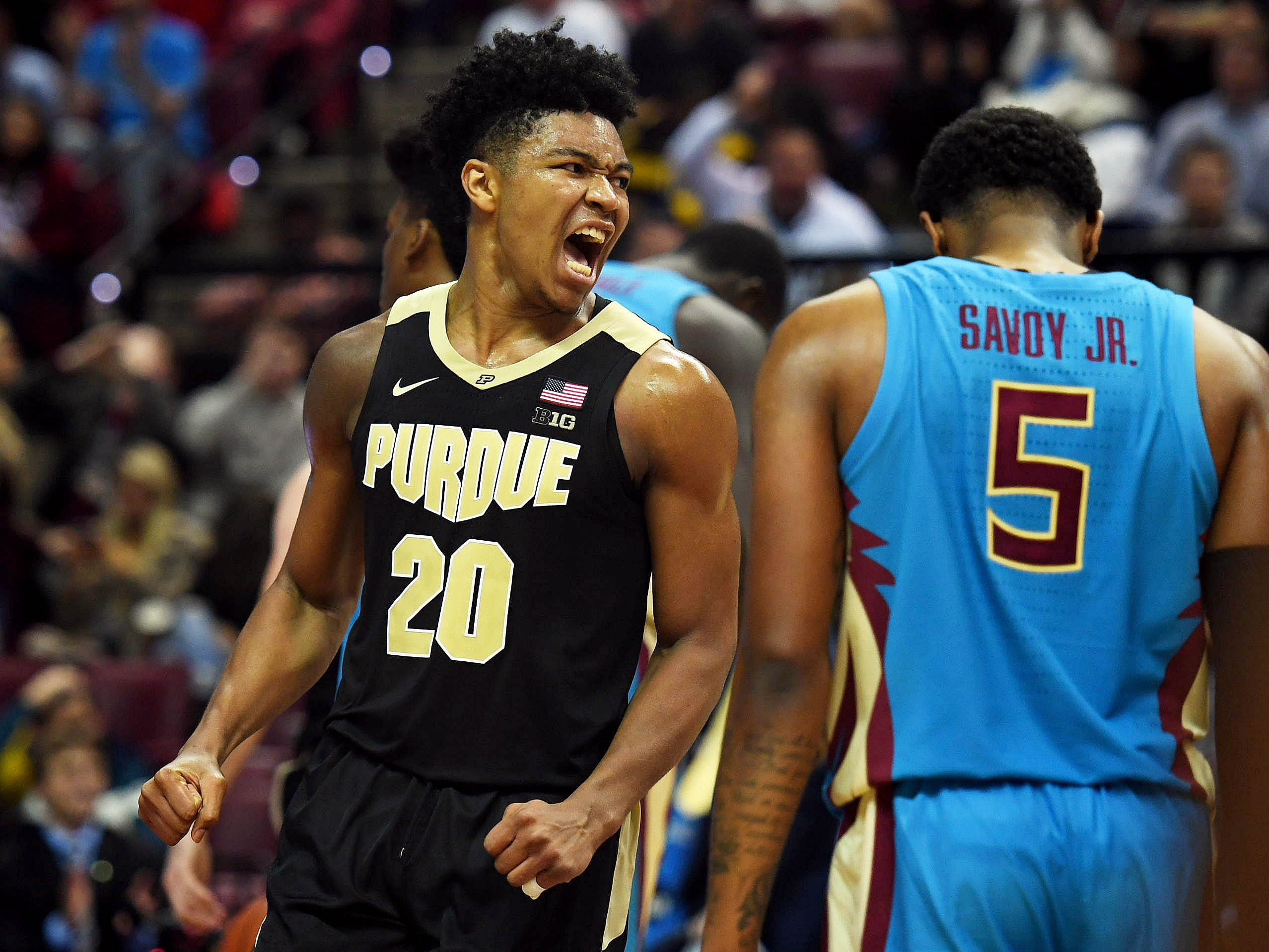 Nov 28, 2018; Tallahassee, FL, USA; Purdue Boilermakers guard Nojel Eastern (20) reacts after a play during the second half against the Florida State Seminoles at Donald L. Tucker Center. Mandatory Credit: Melina Myers-USA TODAY Sports