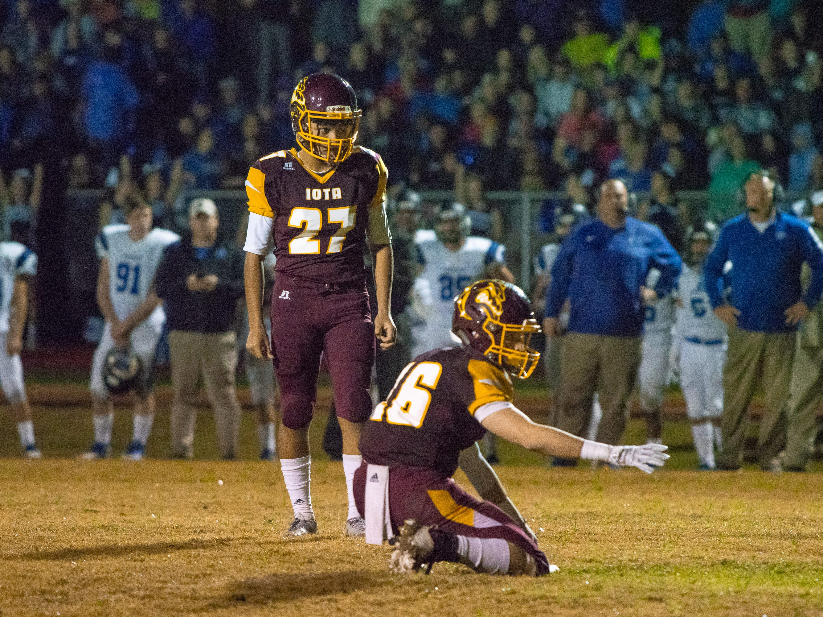 Iota's Luis Doroteo (27) prepares to kick a field goal as the Iota Bulldogs take on the Sterlington Panthers in an LHSAA playoff football game on Friday, Nov. 30, 2018.
