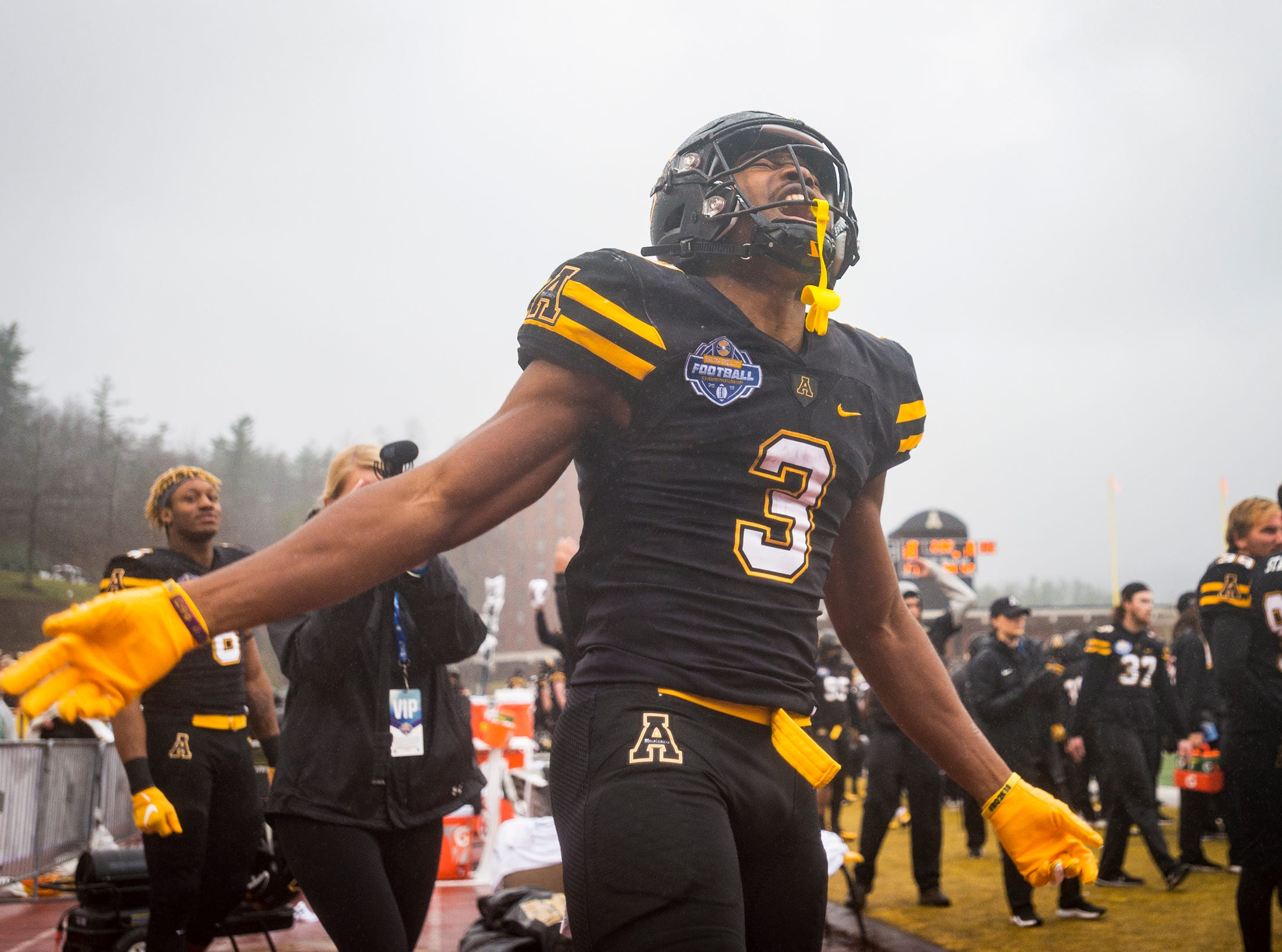 Appalachian State running back Darrynton Evans (3) celebrates in the closing moments of Appalachian State's victory over Louisiana in the Sunbelt Championship on Saturday, Dec. 1, 2018 in Boone, N.C.