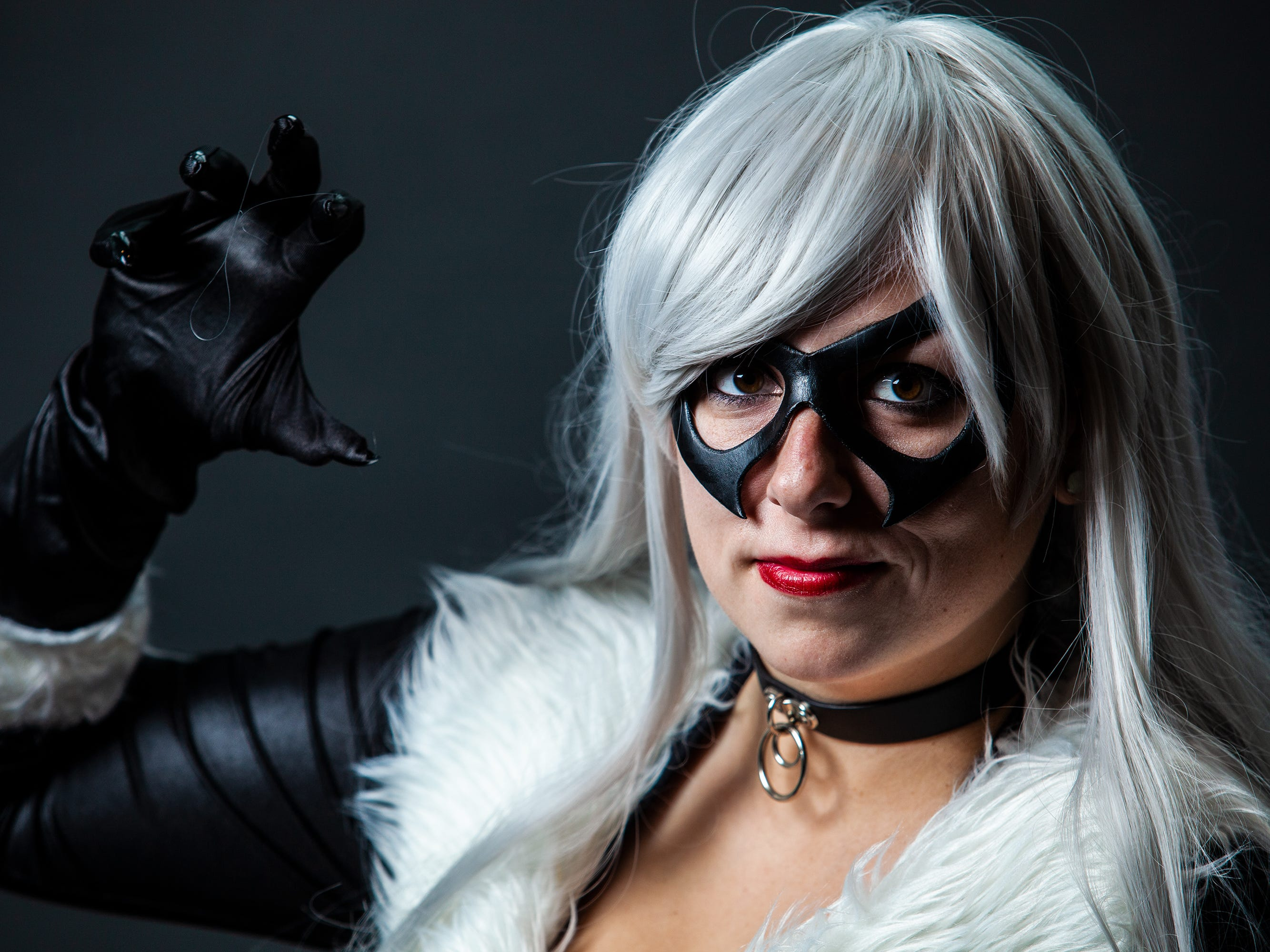Hannah Bunnell poses as Hannah Blackcat for the Louisville Supercon at the Kentucky International Convention Center on Saturday, Dec. 1, 2018.