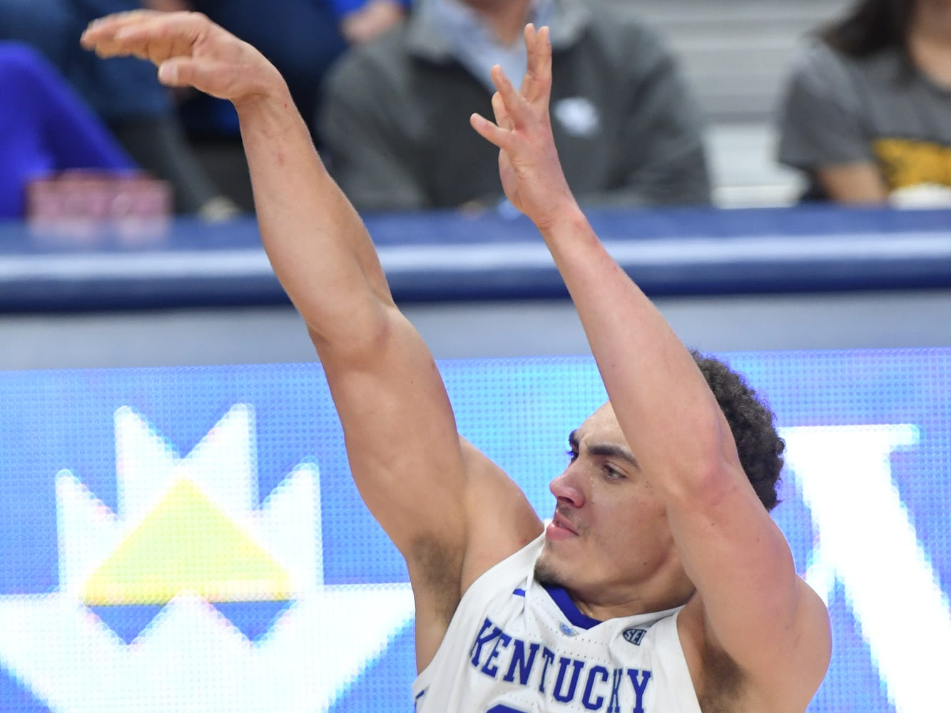 UK F Reid Travis shoots a three pointer during the University of Kentucky men's basketball game against UNC Greensboro at Rupp Arena in Lexington, Kentucky on Saturday, December 1, 2018.