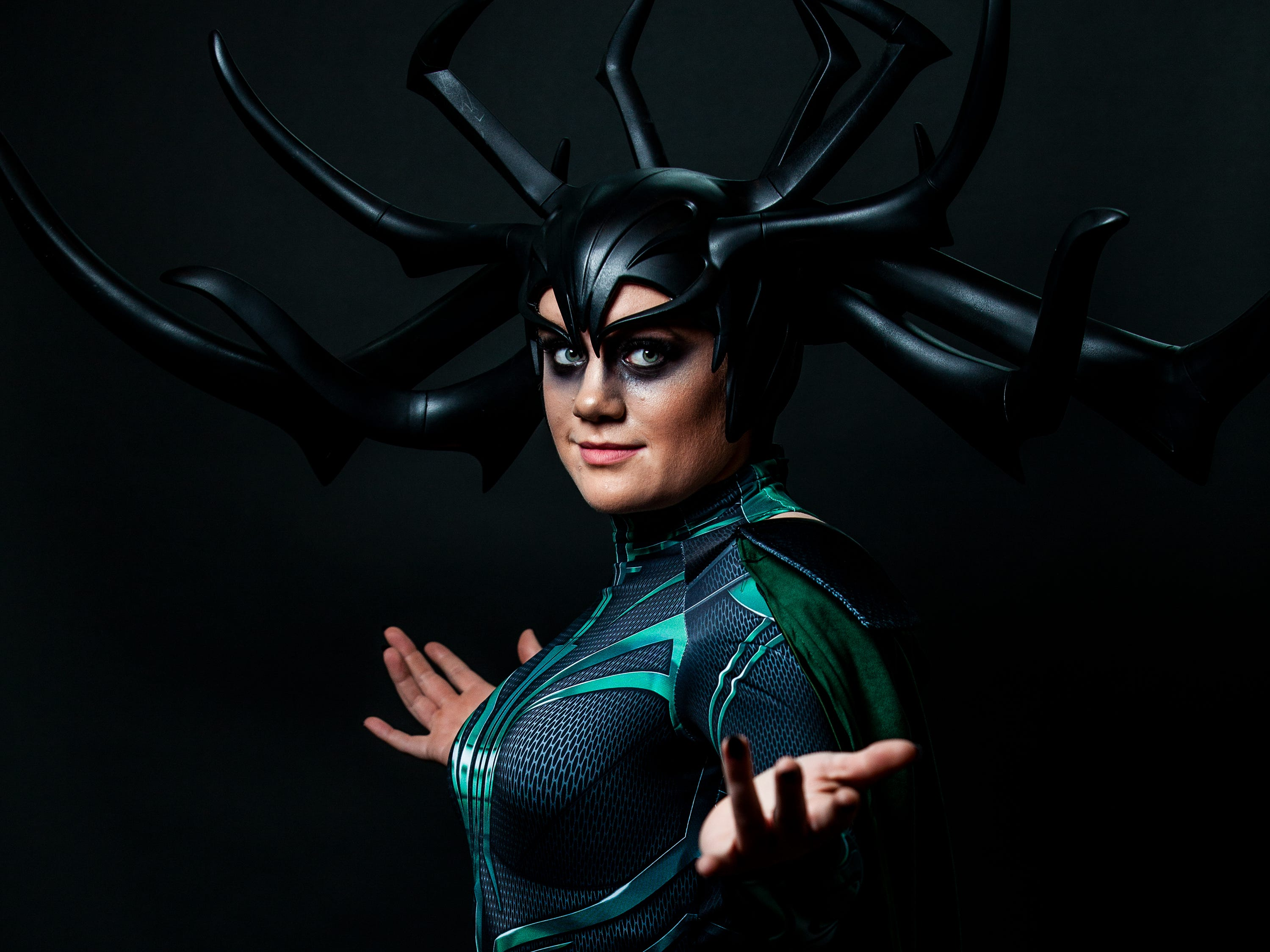 Quinlyn Heppner poses as Hela for the Louisville Supercon at the Kentucky International Convention Center on Saturday, Dec. 1, 2018.