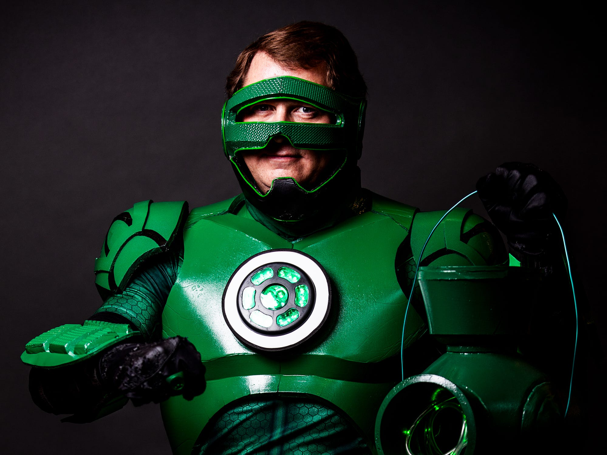 Kevin Walker poses as Green Lantern for the Louisville Supercon at the Kentucky International Convention Center on Friday, Nov. 30, 2018.