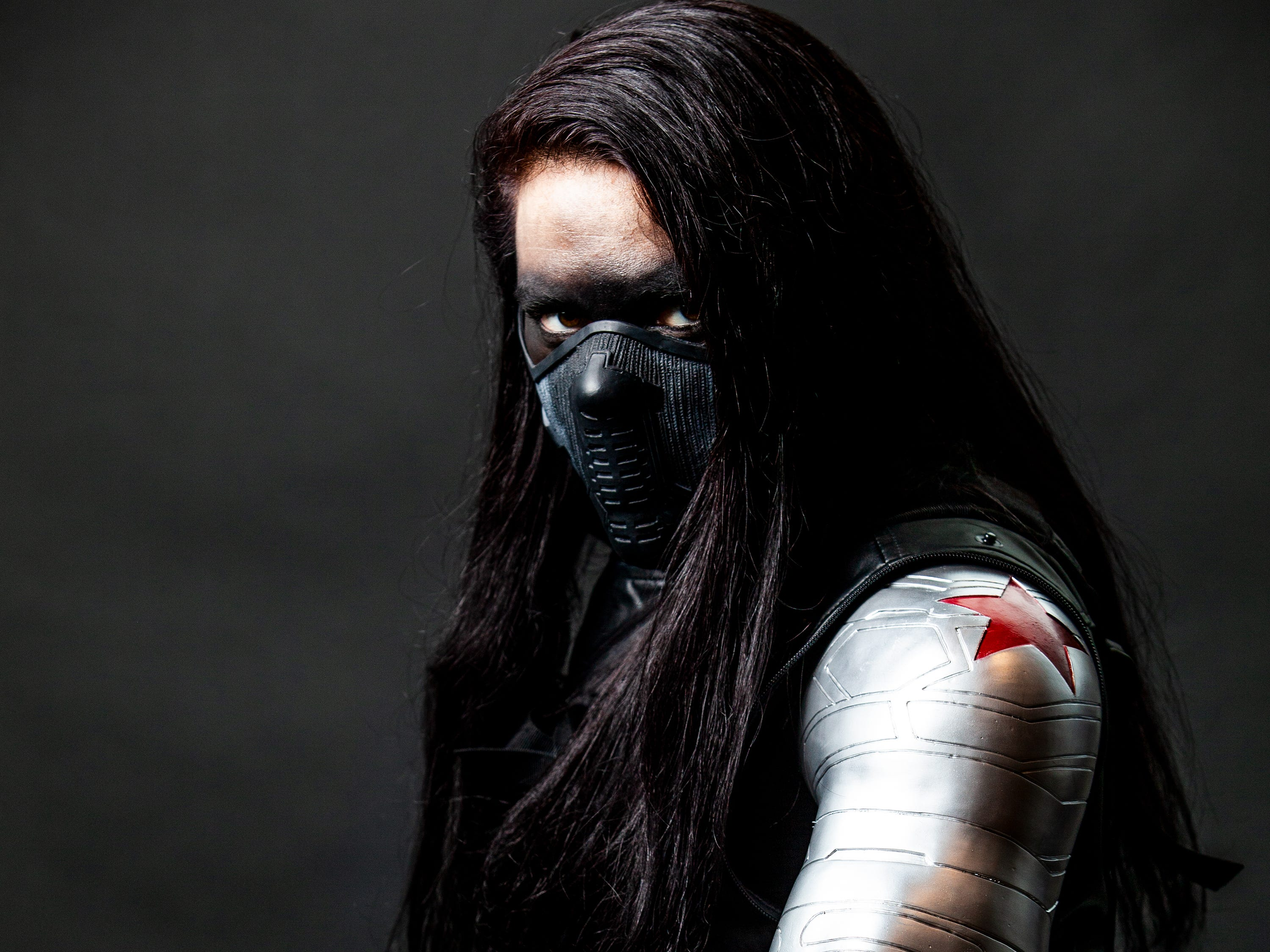 Kaylyn Lecklrne poses as Winter Soldier for the Louisville Supercon at the Kentucky International Convention Center on Saturday, Dec. 1, 2018.