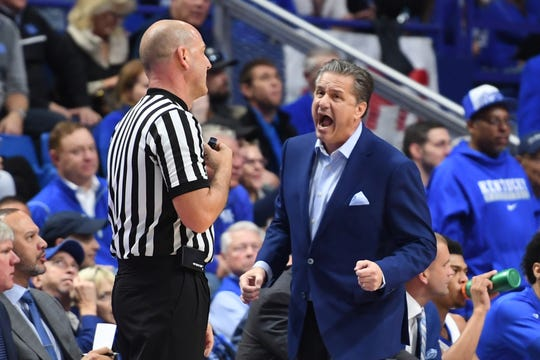 UK head coach John Calipari during the University of Kentucky men's basketball game against UNC Greensboro at Rupp Arena in Lexington, Kentucky on Saturday, December 1, 2018.