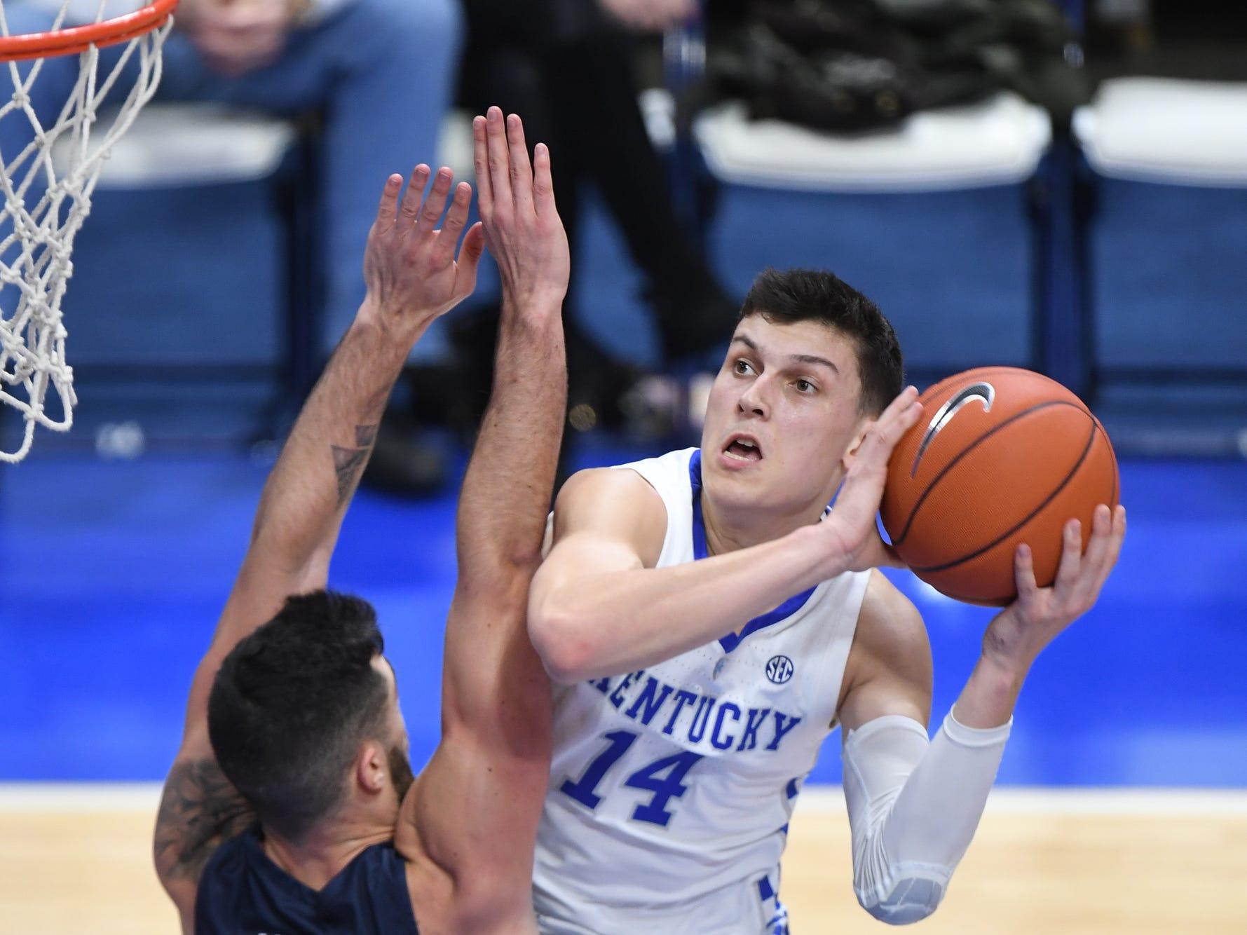 UK G Tyler Herro shoots during the University of Kentucky men's basketball game against UNC Greensboro at Rupp Arena in Lexington, Kentucky on Saturday, December 1, 2018.