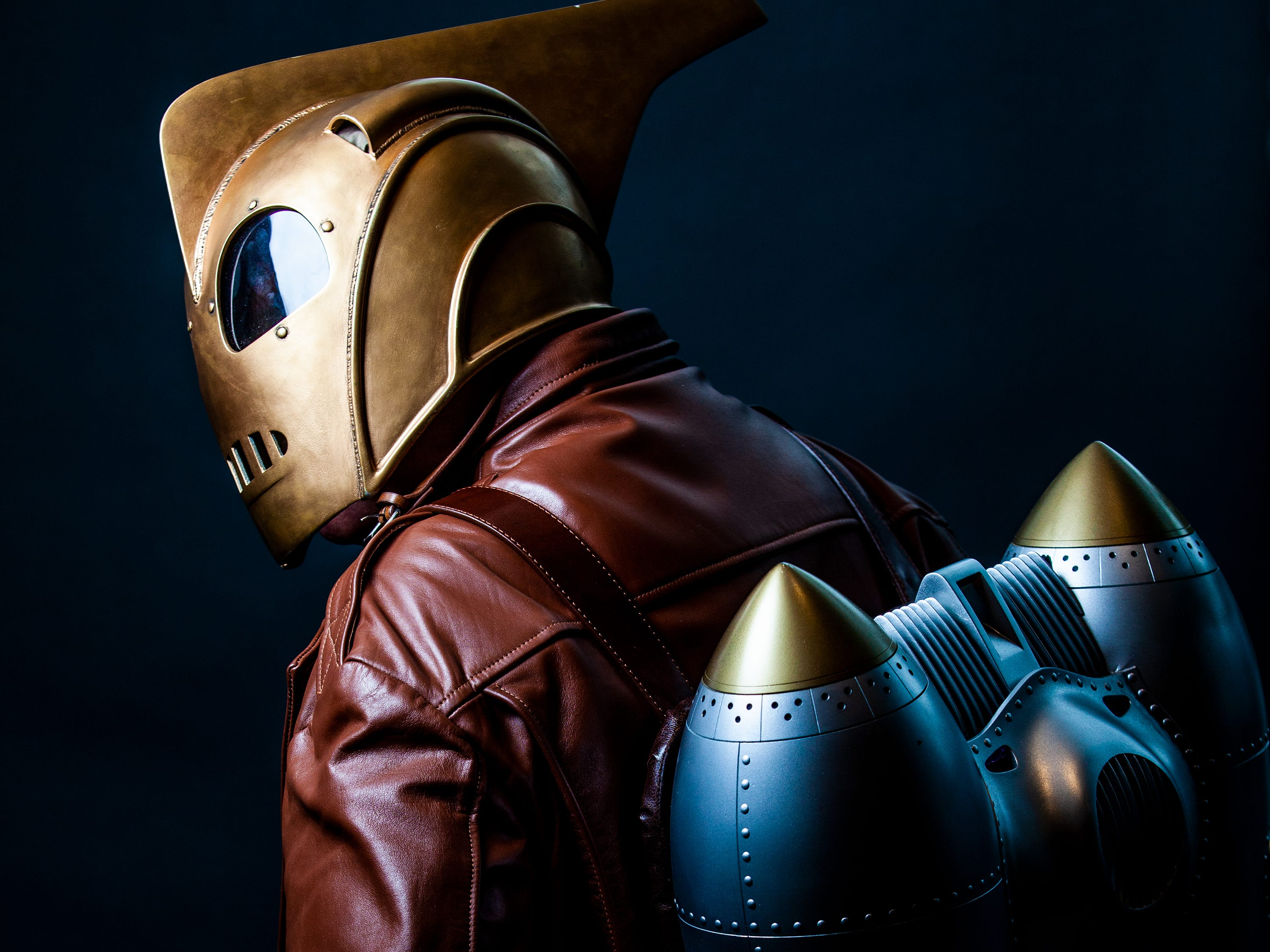 Bob Starks poses as Rocketeer for the Louisville Supercon at the Kentucky International Convention Center on Saturday, Dec. 1, 2018.