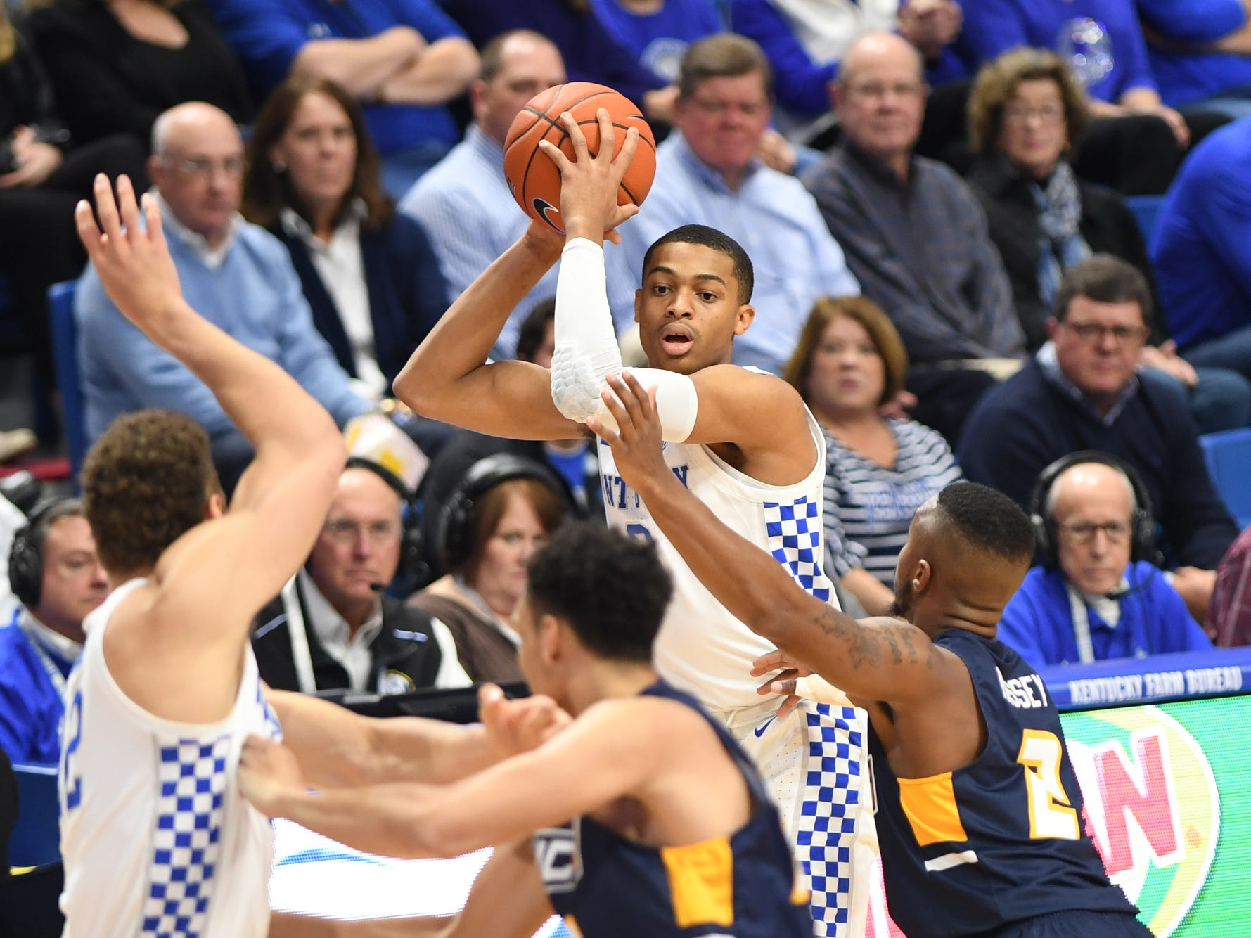 UK G Keldon Johnson controls the ball during the University of Kentucky men's basketball game against UNC Greensboro at Rupp Arena in Lexington, Kentucky on Saturday, December 1, 2018.