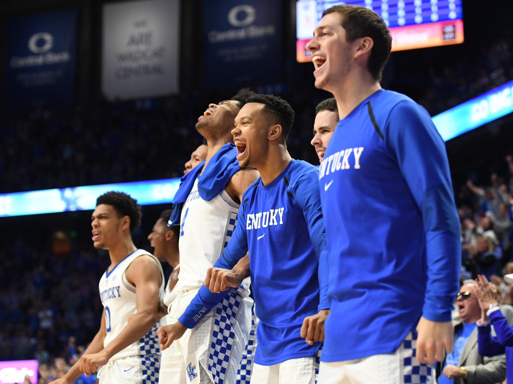 UK bench celebrates during the University of Kentucky men's basketball game against UNC Greensboro at Rupp Arena in Lexington, Kentucky on Saturday, December 1, 2018.
