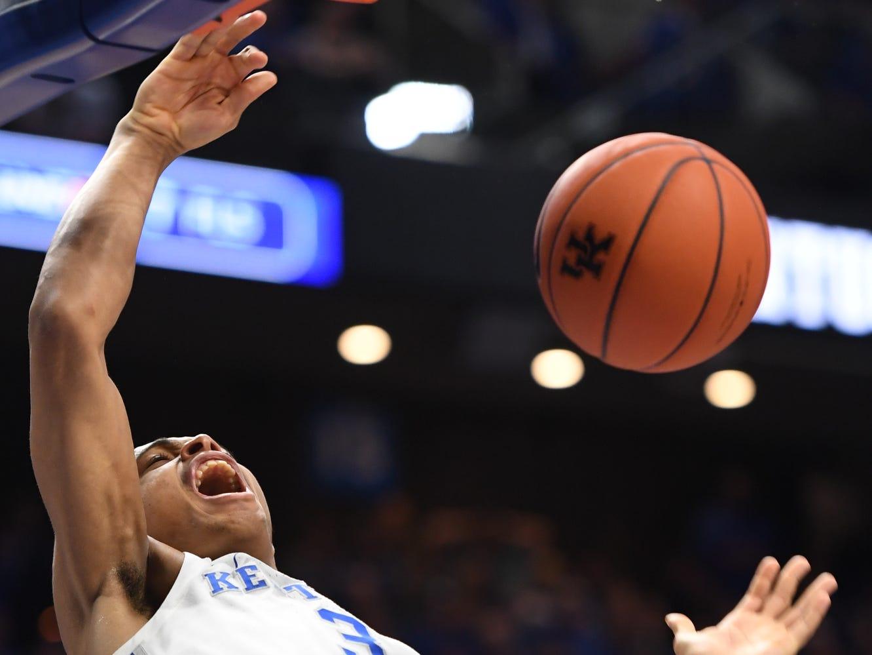 UK G Keldon Johnson dunks during the University of Kentucky men's basketball game against UNC Greensboro at Rupp Arena in Lexington, Kentucky on Saturday, December 1, 2018.