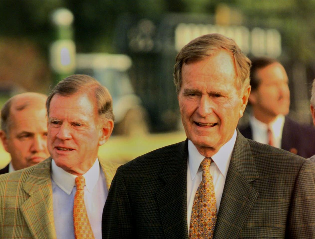 Former President George Bush was on hand at Keeneland to present the first-place trophy in the Lane's End Breeders' Futurity.