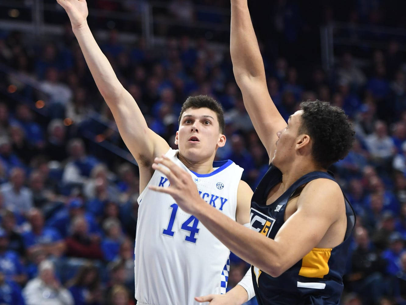 UK G Tyler Herro lays up the ball during the University of Kentucky men's basketball game against UNC Greensboro at Rupp Arena in Lexington, Kentucky on Saturday, December 1, 2018.