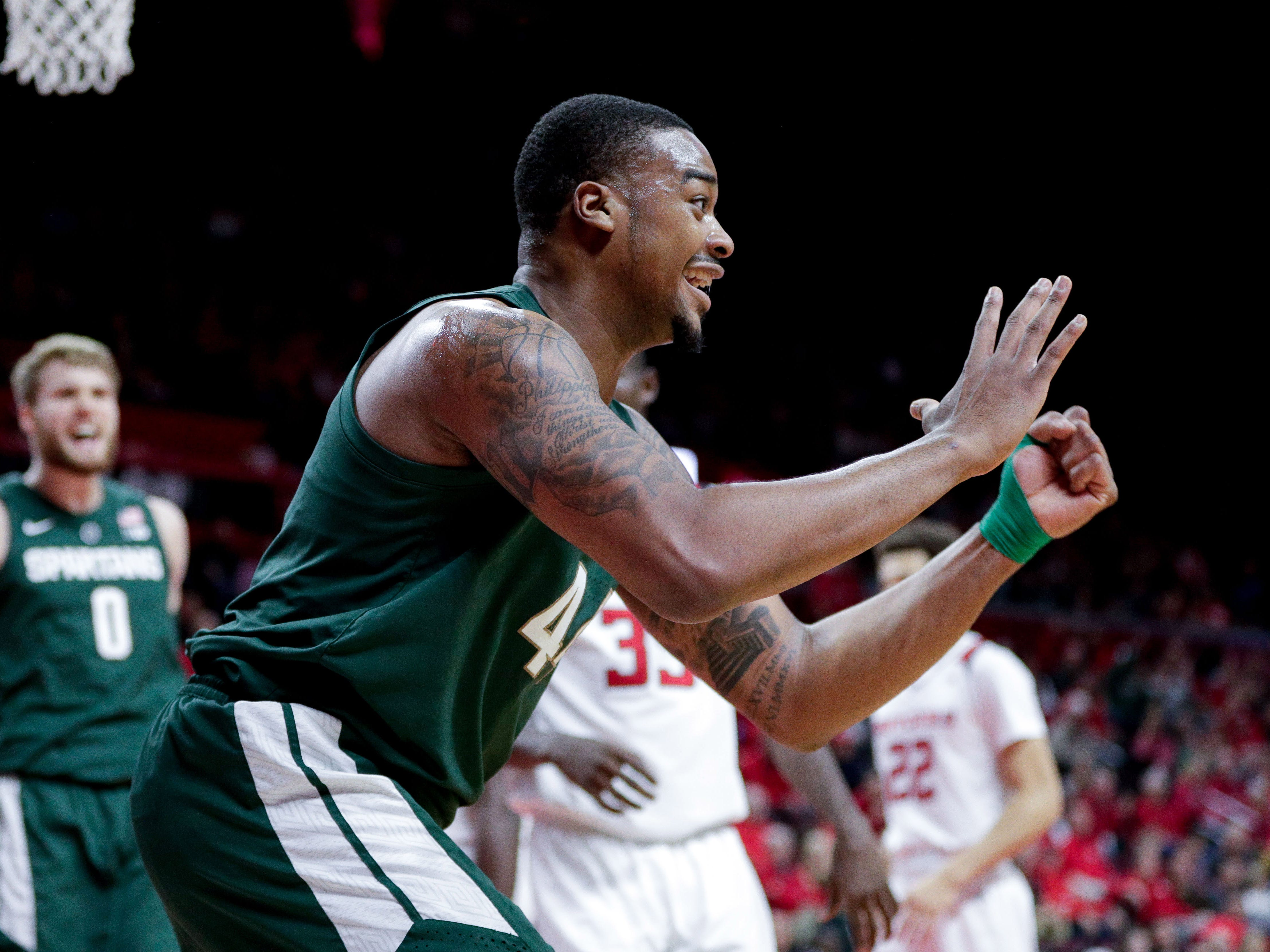 Michigan State Spartans forward Nick Ward (44) celebrates a basket during the first half against the Rutgers Scarlet Knights at Rutgers Athletic Center (RAC).