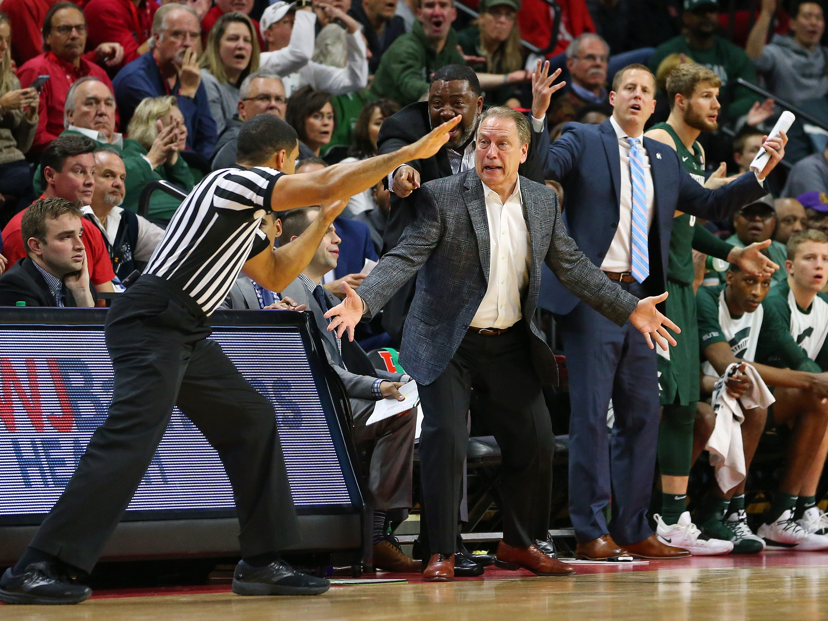 Head coach Tom Izzo of the Michigan State Spartans reacts to a call during the second half of a college basketball game against the Rutgers Scarlet Knights at the Rutgers Athletic Center on November 30, 2018 in Piscataway, New Jersey. Michigan State defeated Rutgers 78-67.