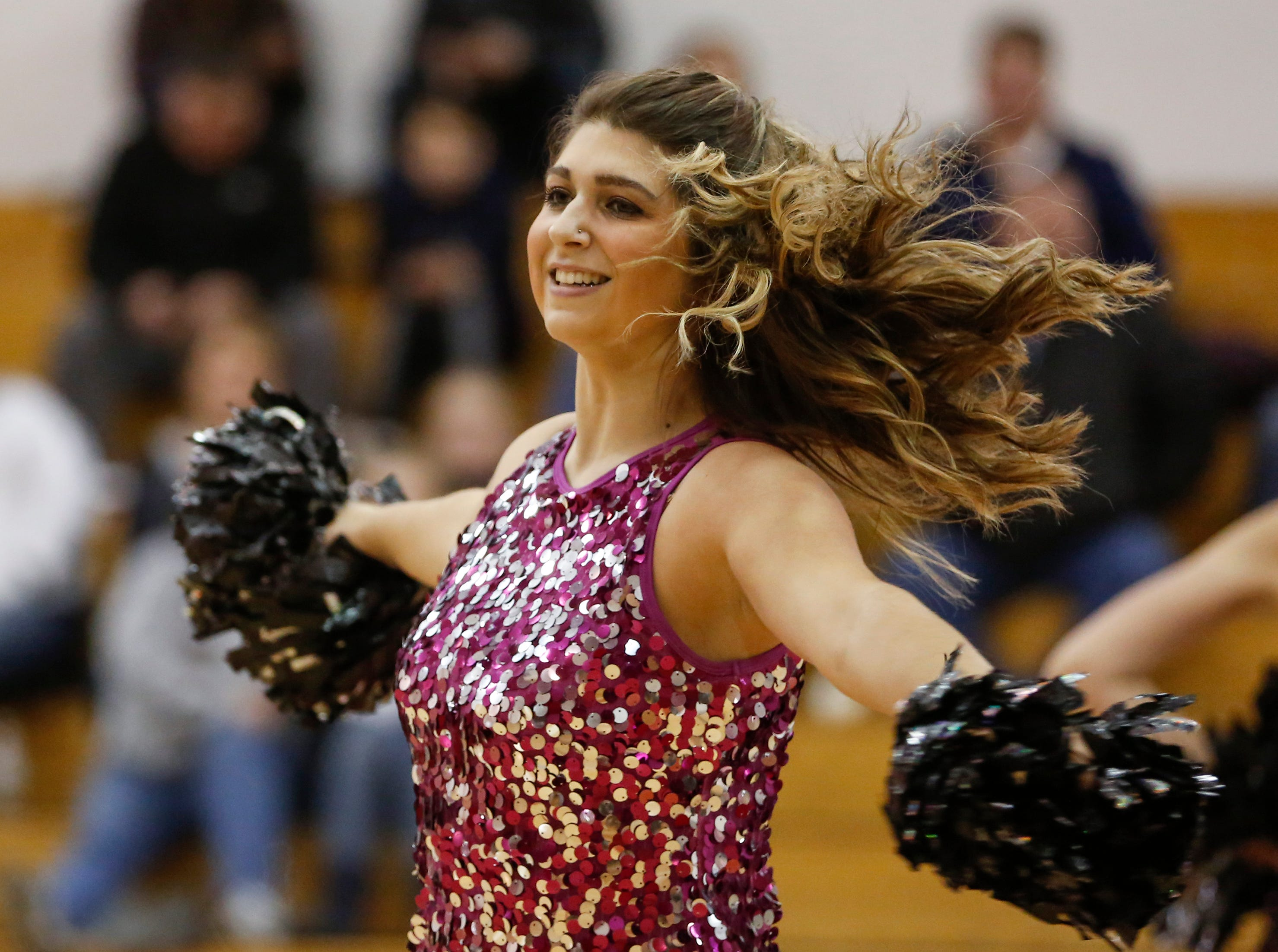 Valders' dance team performs at halftime during an Eastern Wisconsin Conference game against Roncalli at Valders High School Friday, November 30, 2018, in Valders, Wis. Joshua Clark/USA TODAY NETWORK-Wisconsin