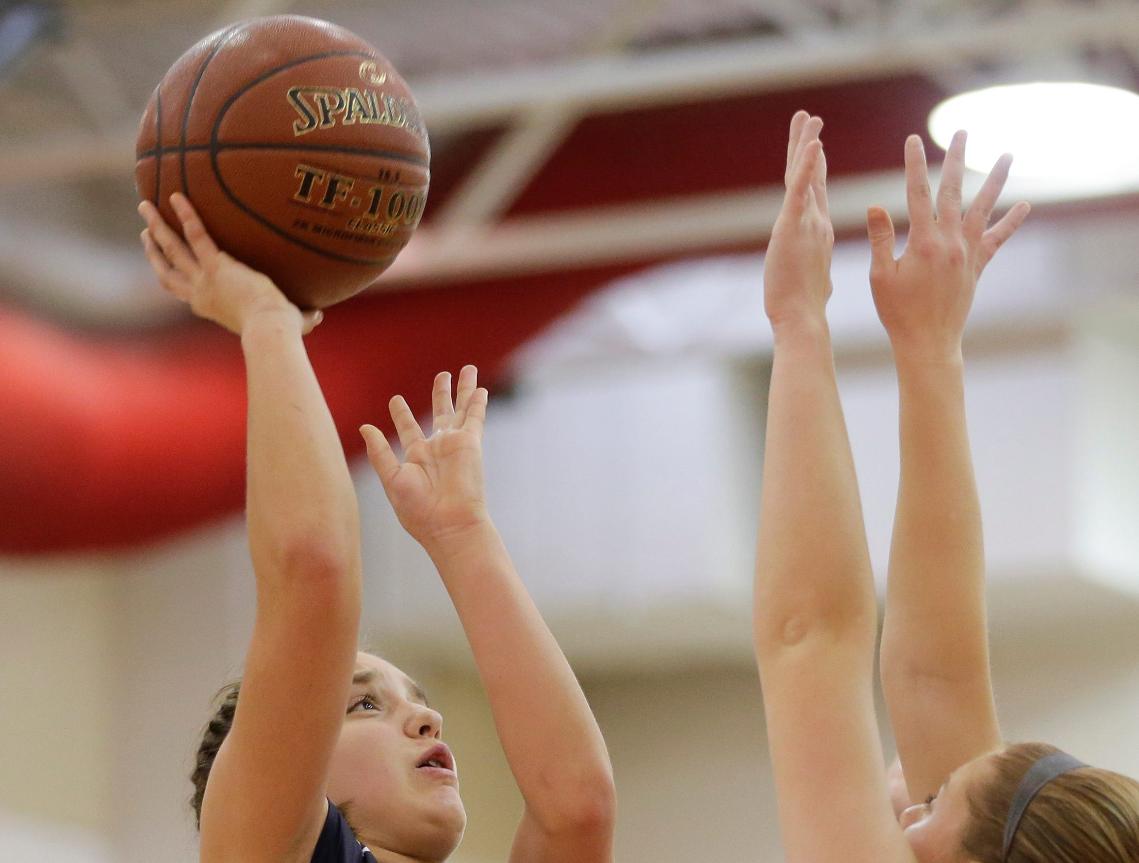 Roncalli's Kaitlyn Freis shoots a layup against Valders in an Eastern Wisconsin Conference game at Valders High School Friday, November 30, 2018, in Valders, Wis. Joshua Clark/USA TODAY NETWORK-Wisconsin