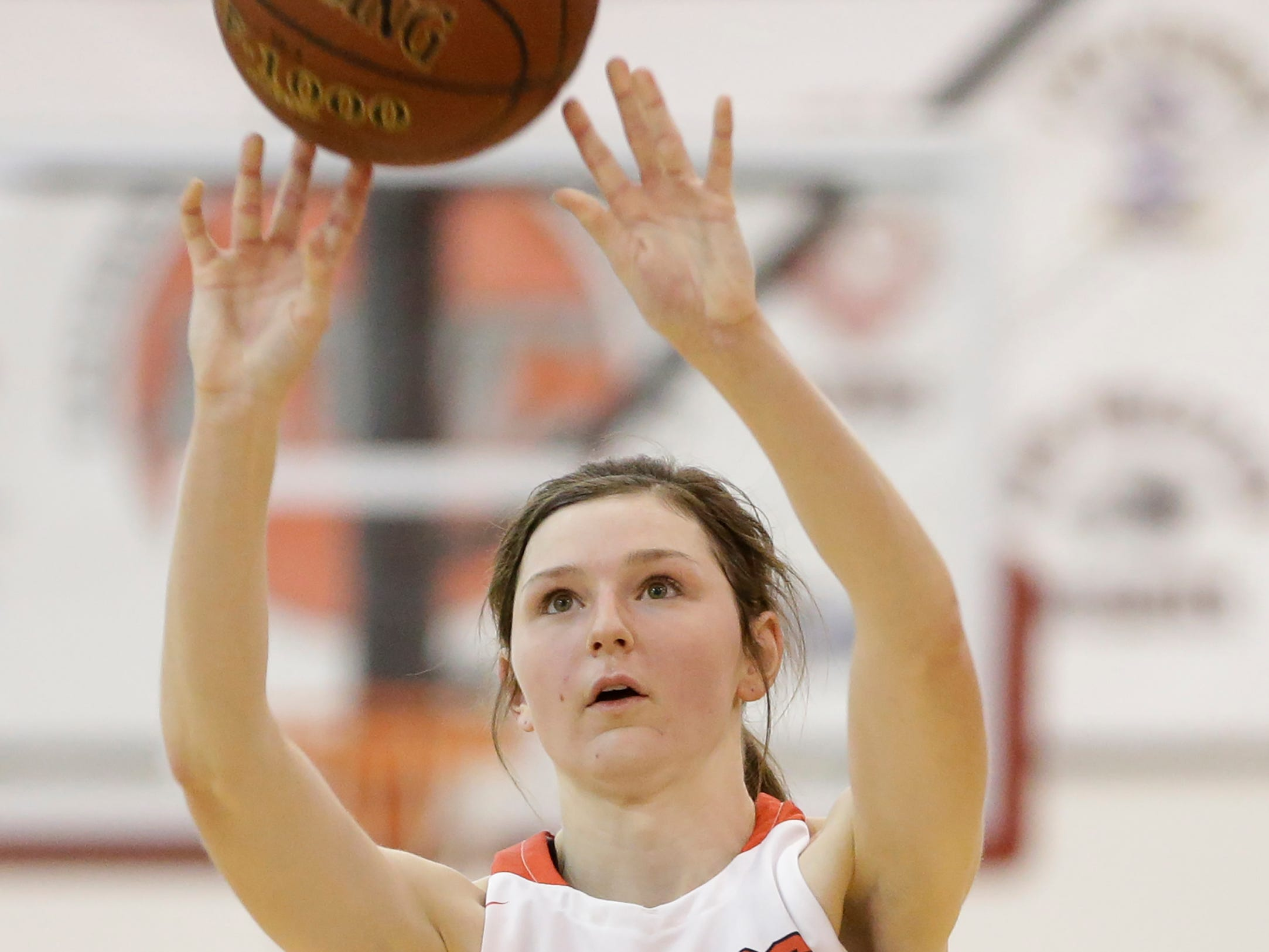 Valders' Emma Wagner puts up a jump shot against Roncalli in an Eastern Wisconsin Conference game at Valders High School Friday, November 30, 2018, in Valders, Wis. Joshua Clark/USA TODAY NETWORK-Wisconsin