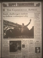 The Commercial Appeal front page on Nov. 23, 1989 reflected President George H.W. Bush's visit to Memphis and the newspaper the previous day.