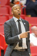 Memphis head coach Penny Hardaway directs the players against Texas Tech during the first half of an NCAA college basketball game at the Air Force Reserve Hoophall Miami Invitational in Miami, Saturday, Dec. 1, 2018.