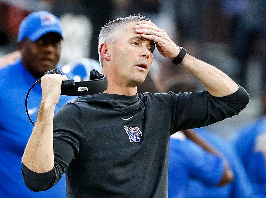 Memphis head coach Mike Norvell during action against UCF at the AAC Championship Football game Saturday, December 1, 2018 in Orlando.