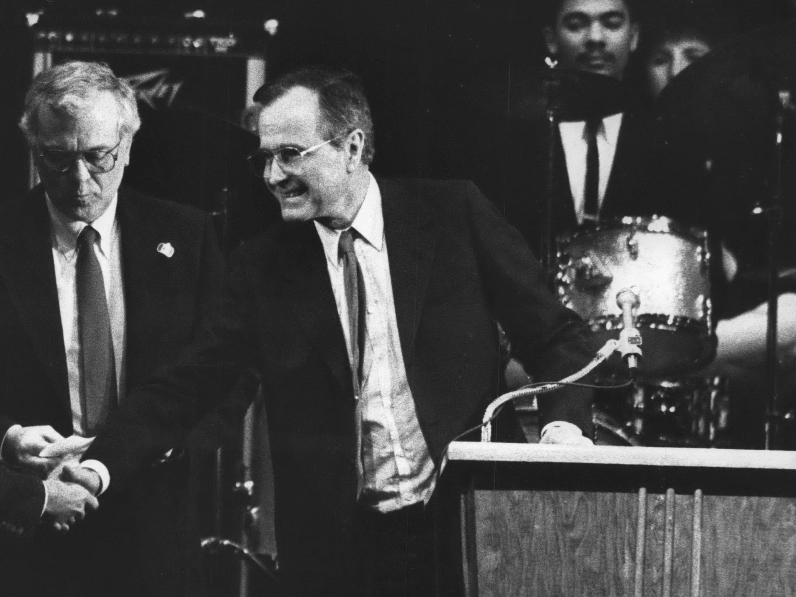 In 1988 George Bush visits at Marquette University High School in Milwaukee.