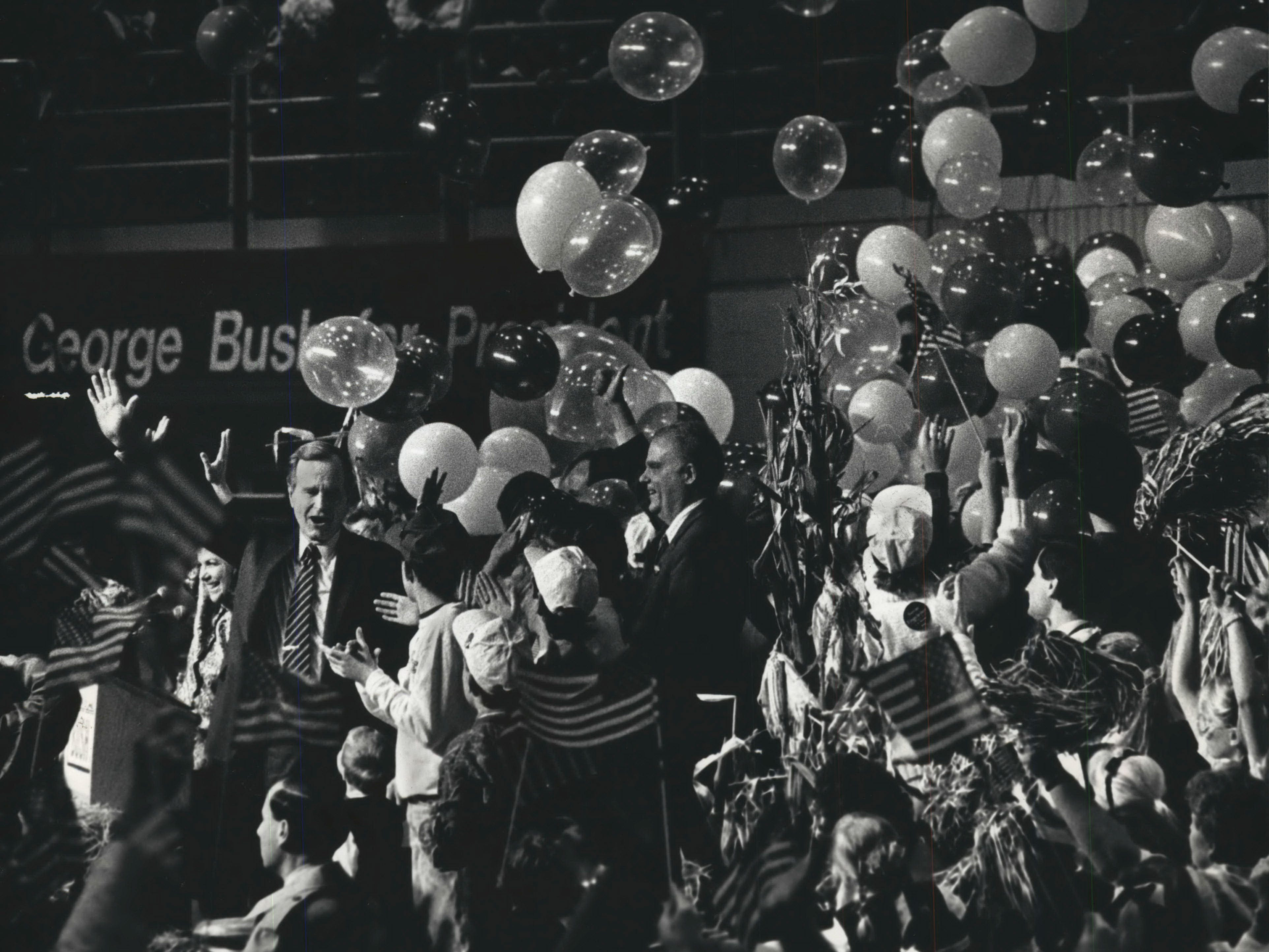 George Bush waved as balloon were launched at the Expo Centerin 1988.