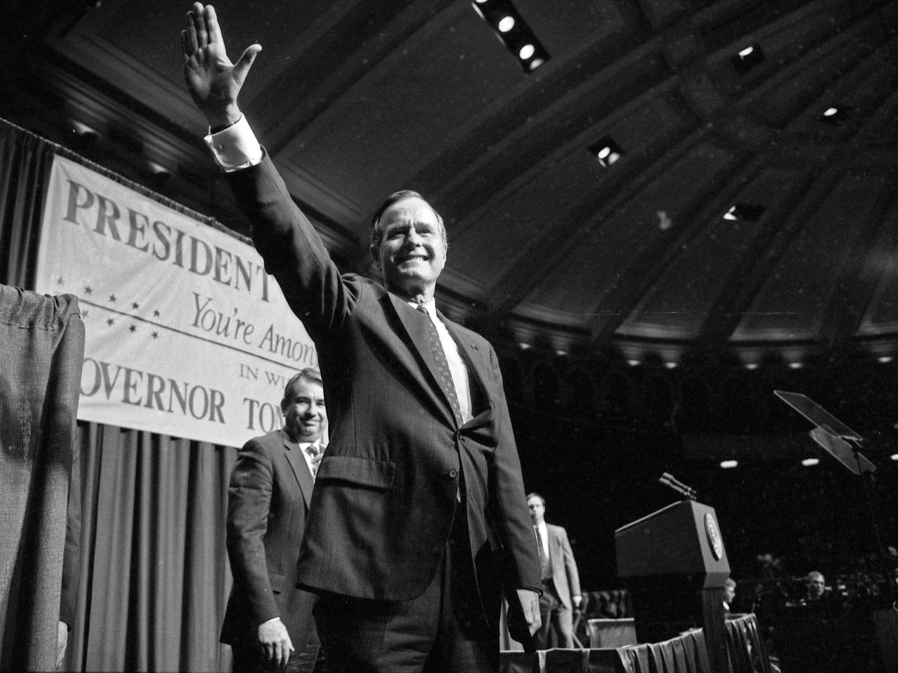 President George Bush visits Wisconsin in 1990 to campaign for Gov. Tommy Thompson at the Milwaukee Auditorium.
