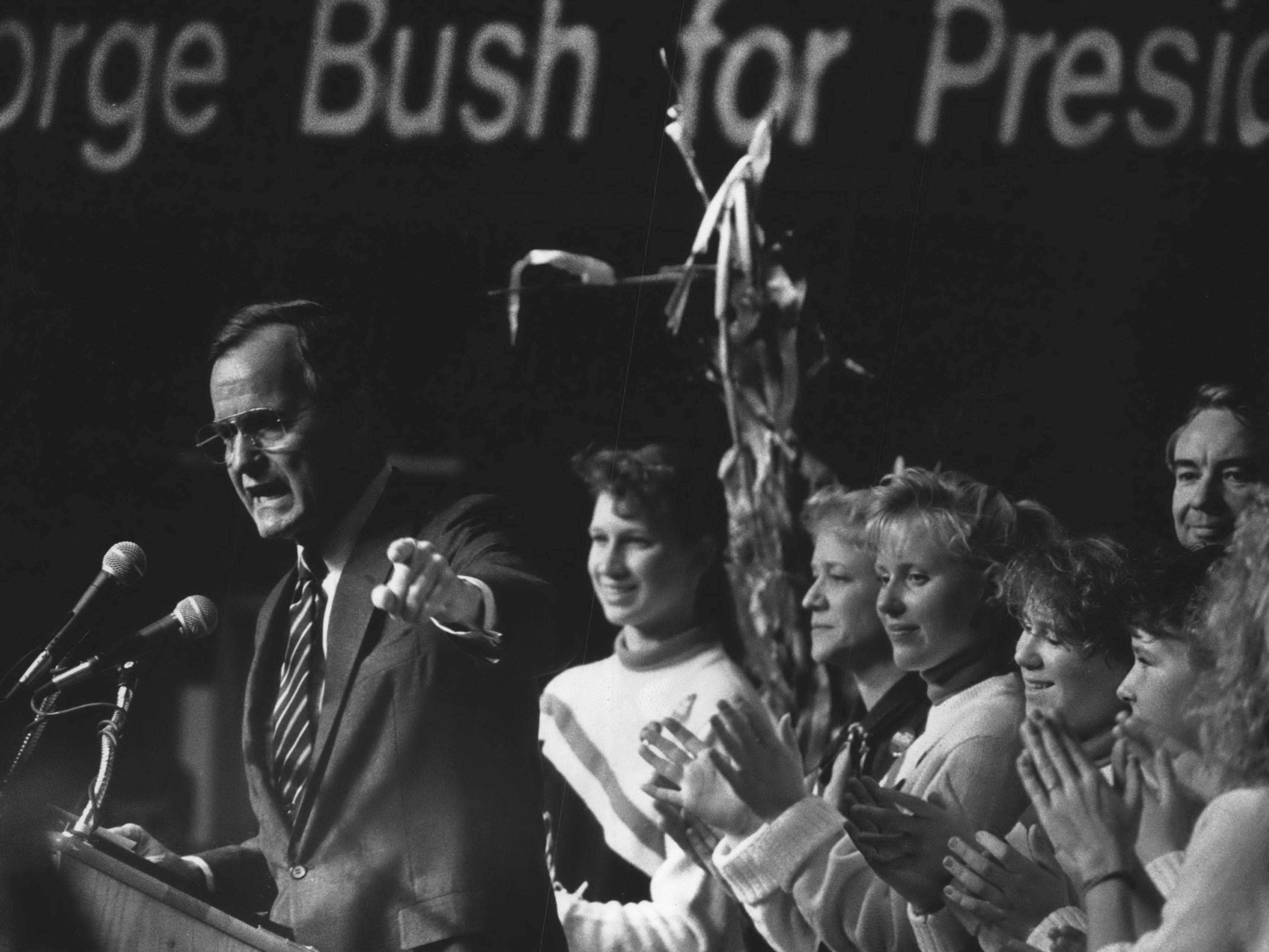 Vice President George Bush gestures during a 1988 campaign appearance at the Waukesha County Exposition Center in Pewaukee.