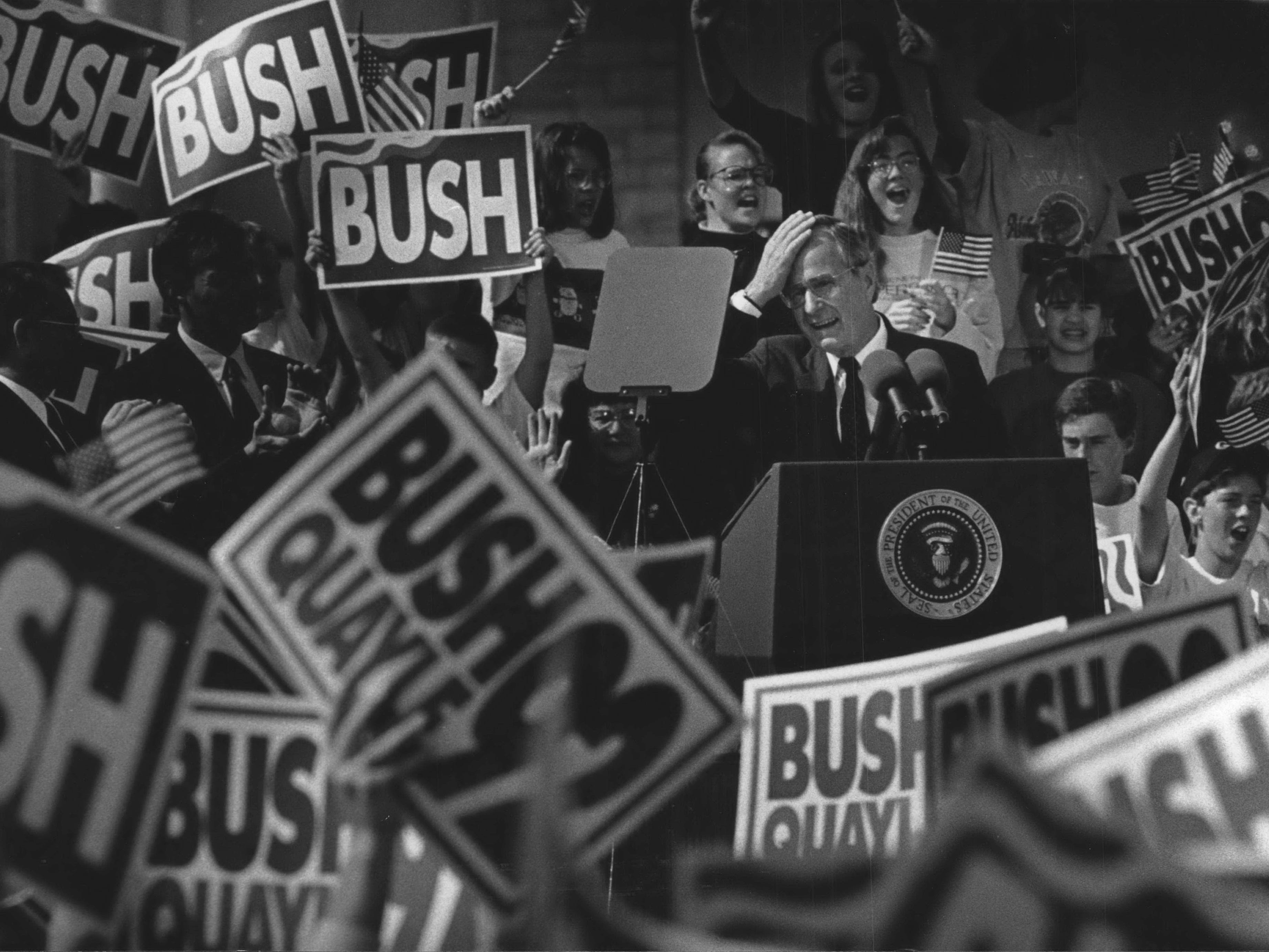 George Bush campaigns in Fond du Lac and Milwaukee in 1992