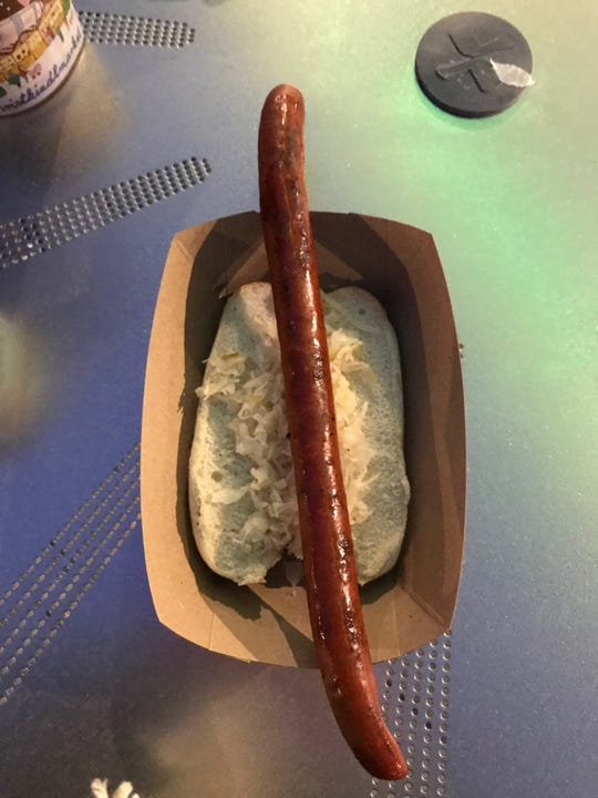 The snappy kilometer sausage from Austrian Lodge at Christkindlmarket in Milwaukee.