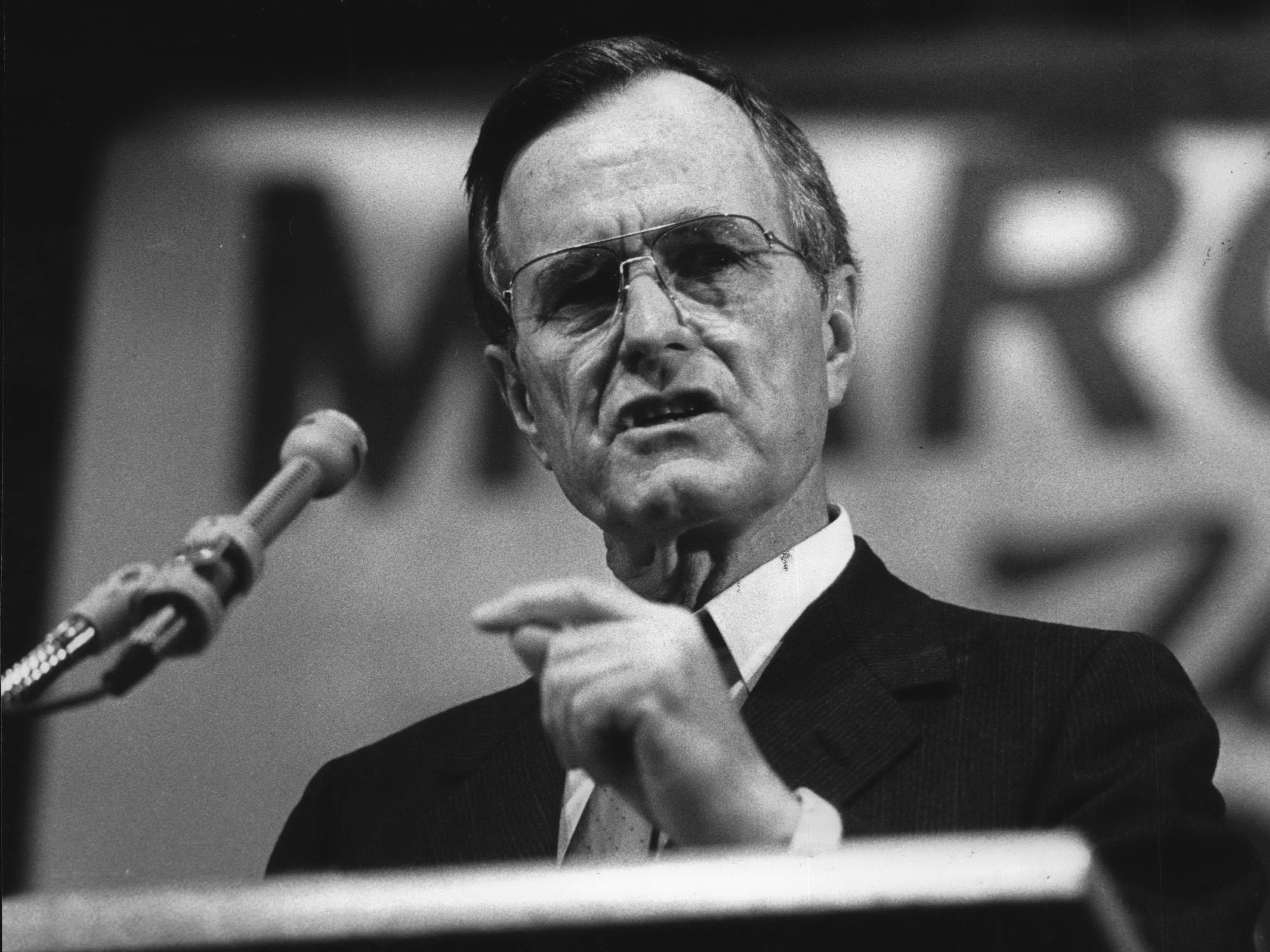 George Bush speaks to students at Marquette University High School during his 1988 presidential campaign.