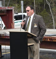 Marion County Sheriff Clinton Evans speaks at a dedication ceremony Friday afternoon for the Marion County Law Enforcement Center. The facility will house the county's new 62-bed jail as well as the Sheriff's Department.