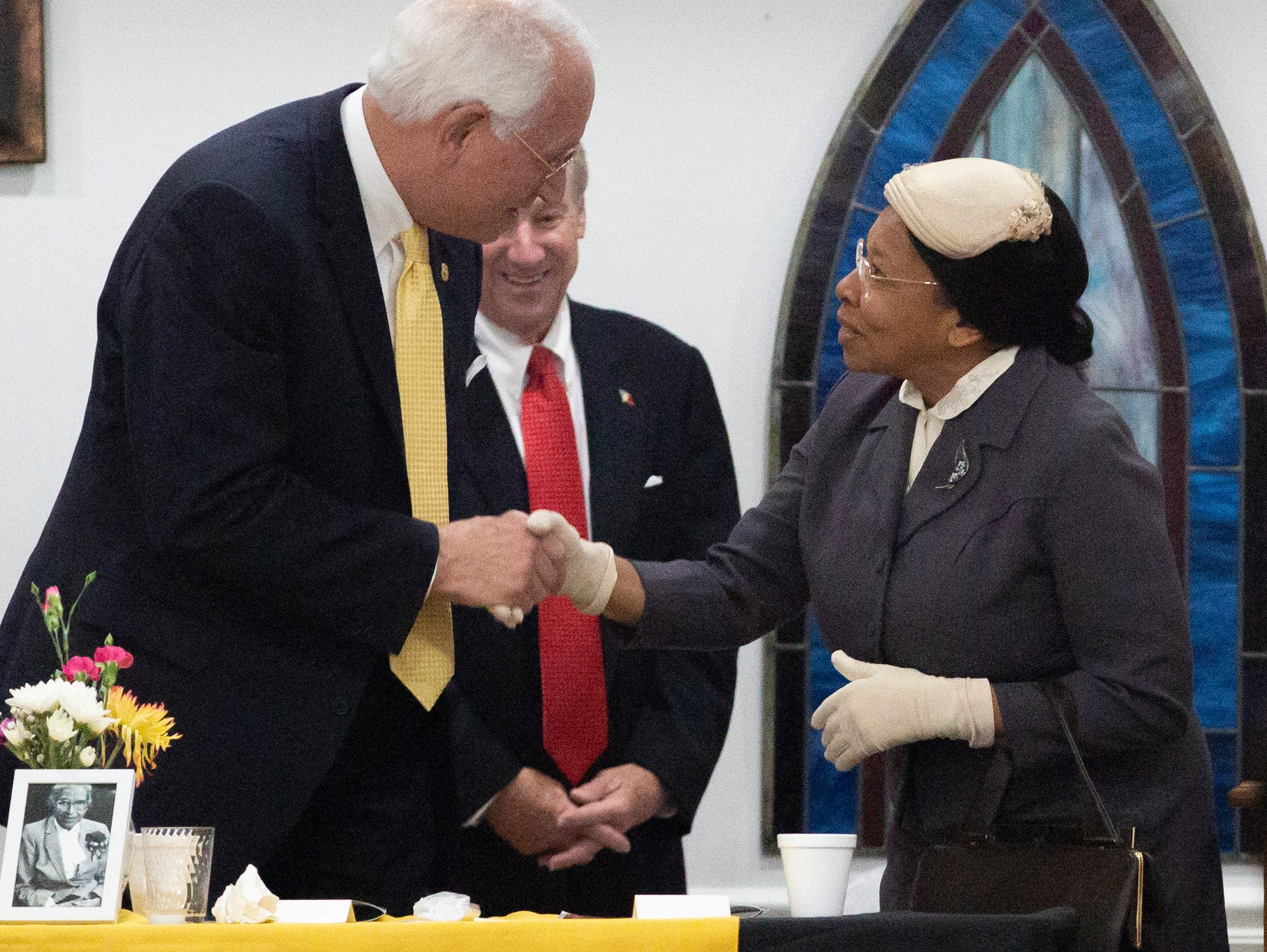 Anne Clemons portrays Rosa Parks during a unity breakfast at St. Paul AME church.