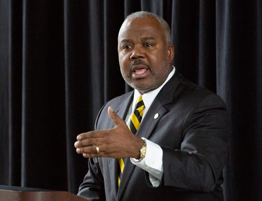 Alabama State University President Quinton Ross speaks during an event honoring Rosa Parks, who attended the teaching school which would become ASU.