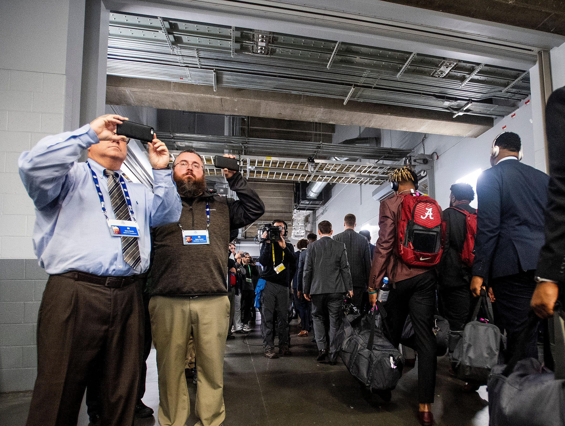 The Alabama football team arrives before the SEC Championship Game at Mercedes Benz Stadium in Atlanta, Ga., on Saturday December 1, 2018.