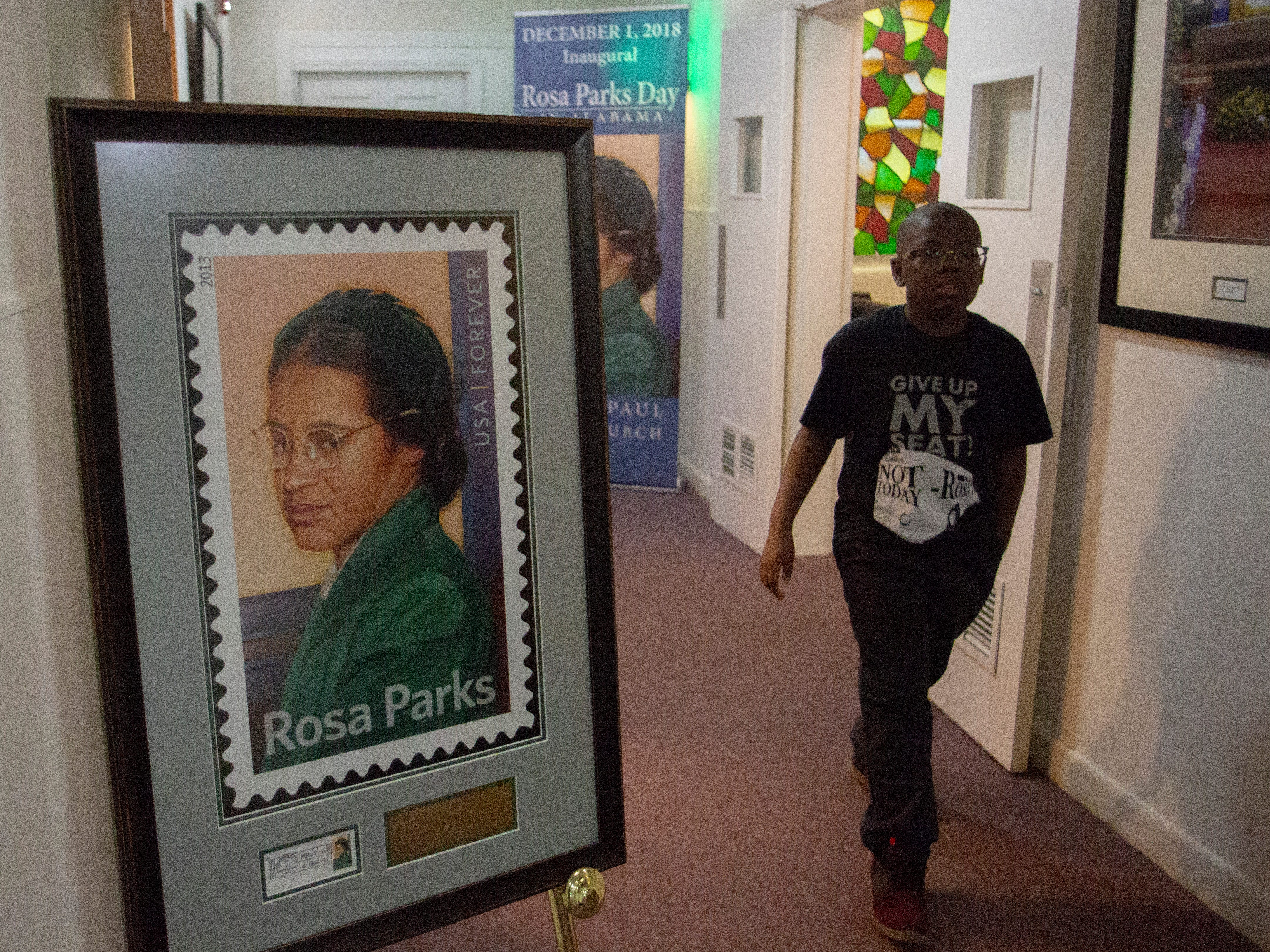 Jodan Bellamy, 8, walks through the halls of St. Paul AME Church where Rosa Parks attended while she lived in Montgomery.