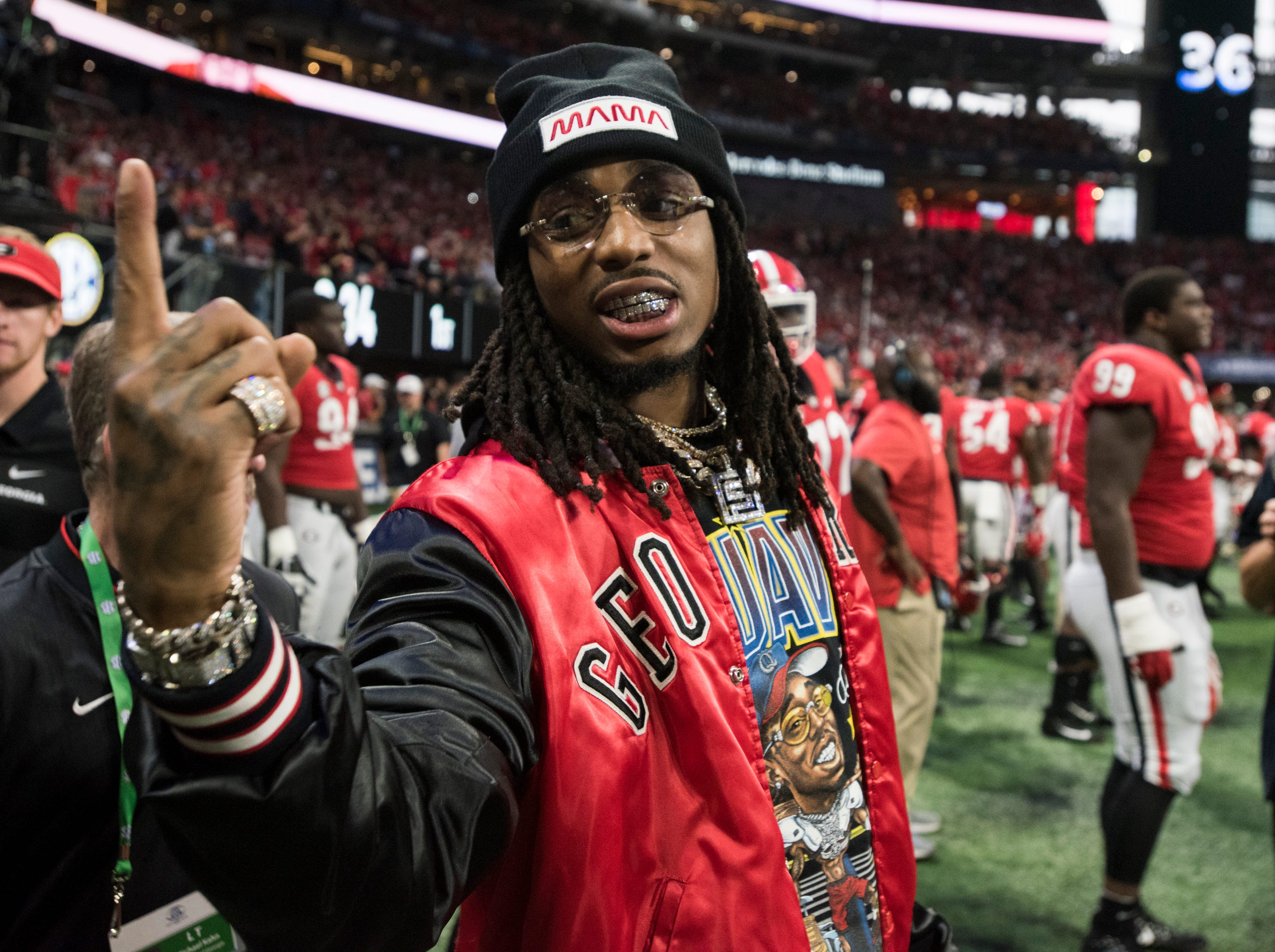 Rapper Quavo on the sideline during the SEC Championship game at Mercedes-Benz Stadium in Atlanta, Ga., on Saturday Dec. 1, 2018. Georgia leads Alabama 21-14 at halftime.