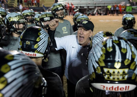 Wetumpka head coach Tim Perry pumps up his team in a pregame huddle at Hohenberg Field in Wetumpka, Ala., on Friday, Nov. 30, 2018. Wetumpka leads Saraland 14-8 at halftime.