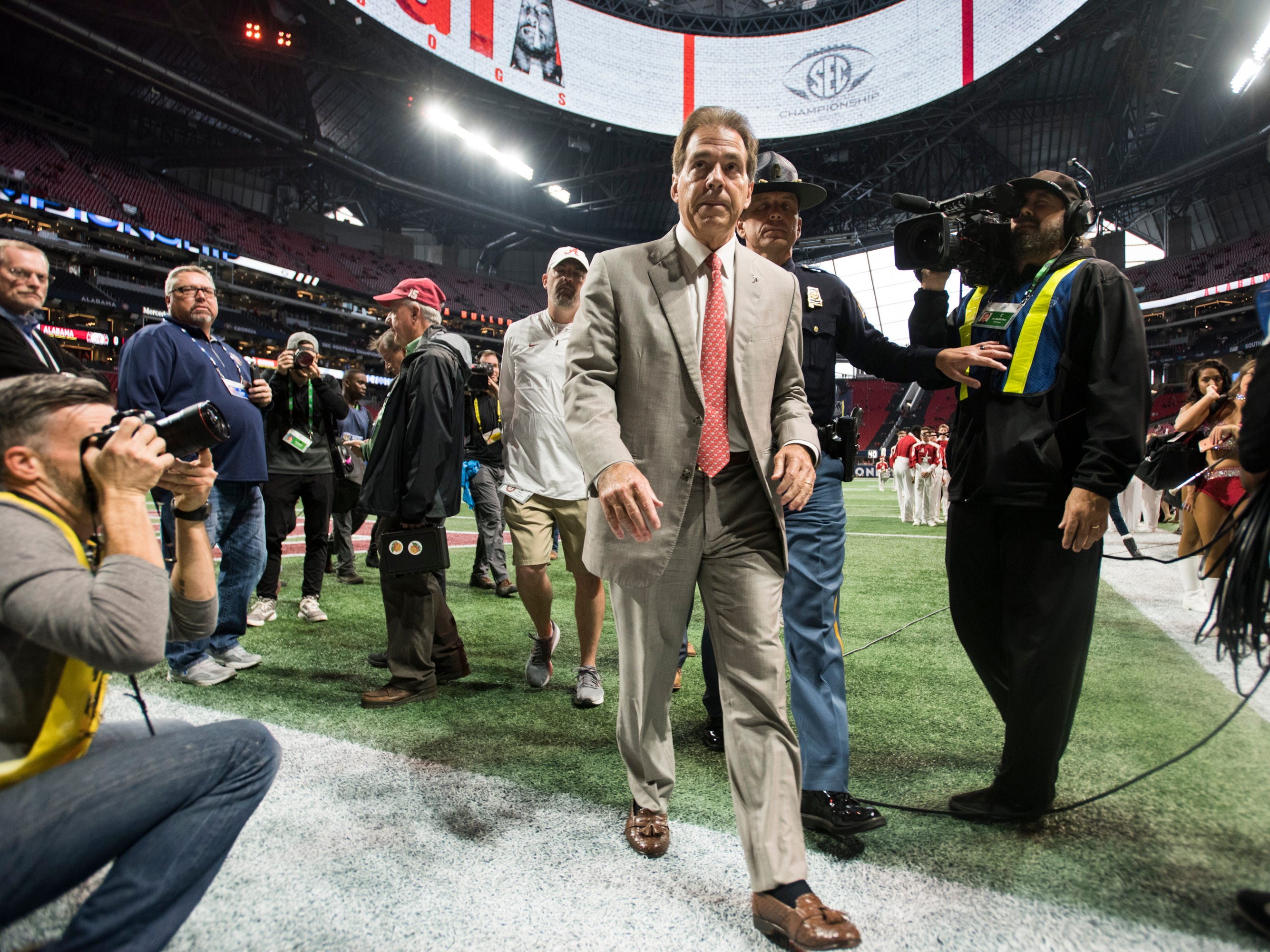 Alabama head coach Nick Saban leaves the field before the SEC Championship game at Mercedes-Benz Stadium in Atlanta, Ga., on Saturday Dec. 1, 2018.
