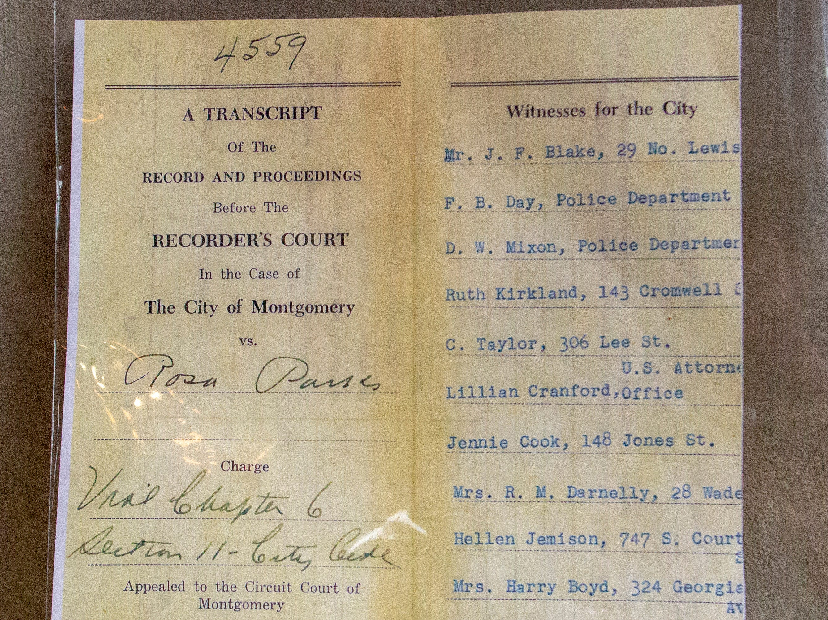 Rosa Parks' arrest record from 63 years ago when her act of civil disobedience helps spark the desegregation of Montgomery city busses as well as the larger civil rights movement.