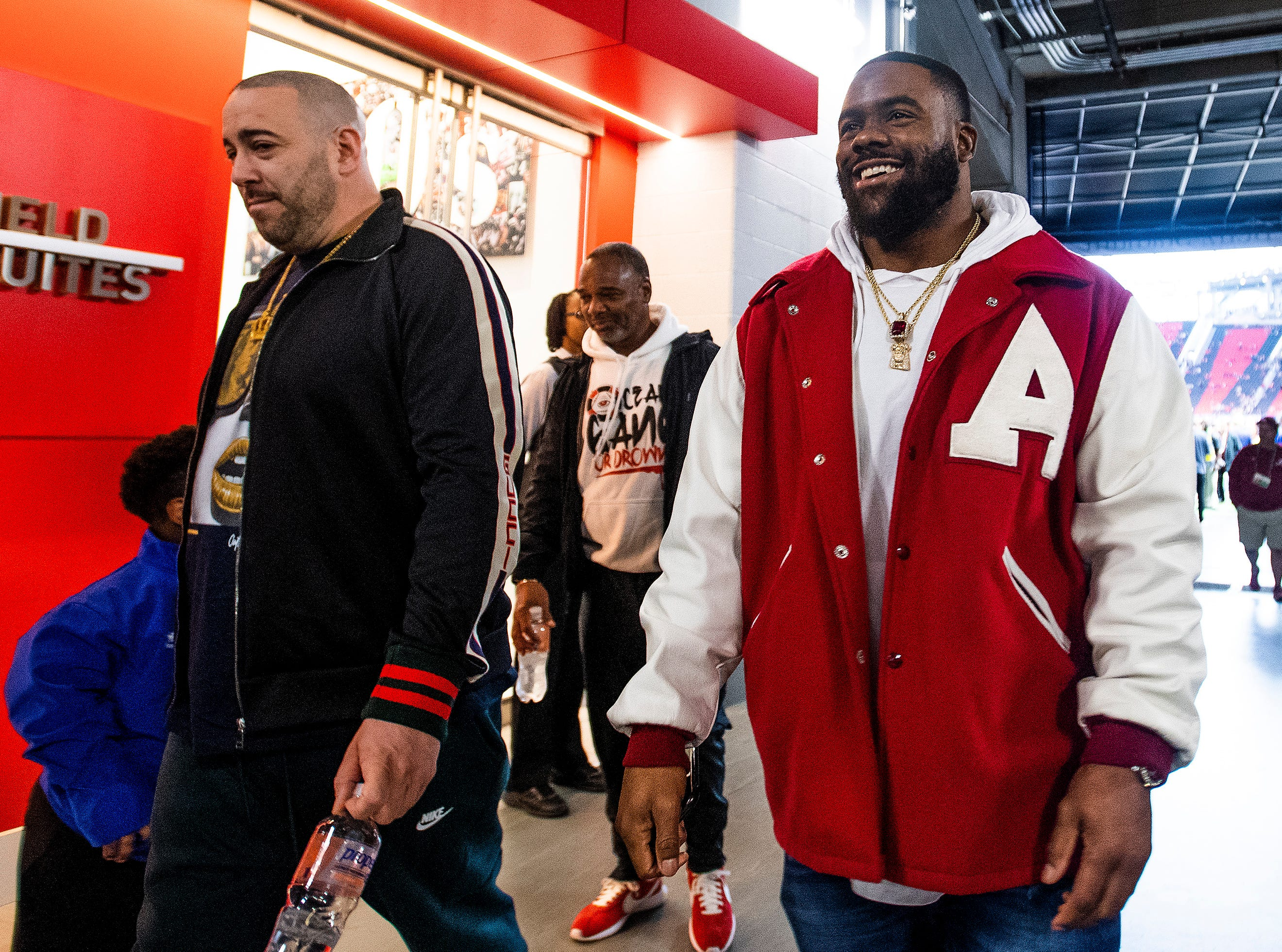 Former Alabama running back and current New Orleans Saints running back Mark Ingram arrives before the SEC Championship Game at Mercedes Benz Stadium in Atlanta, Ga., on Saturday December 1, 2018.
