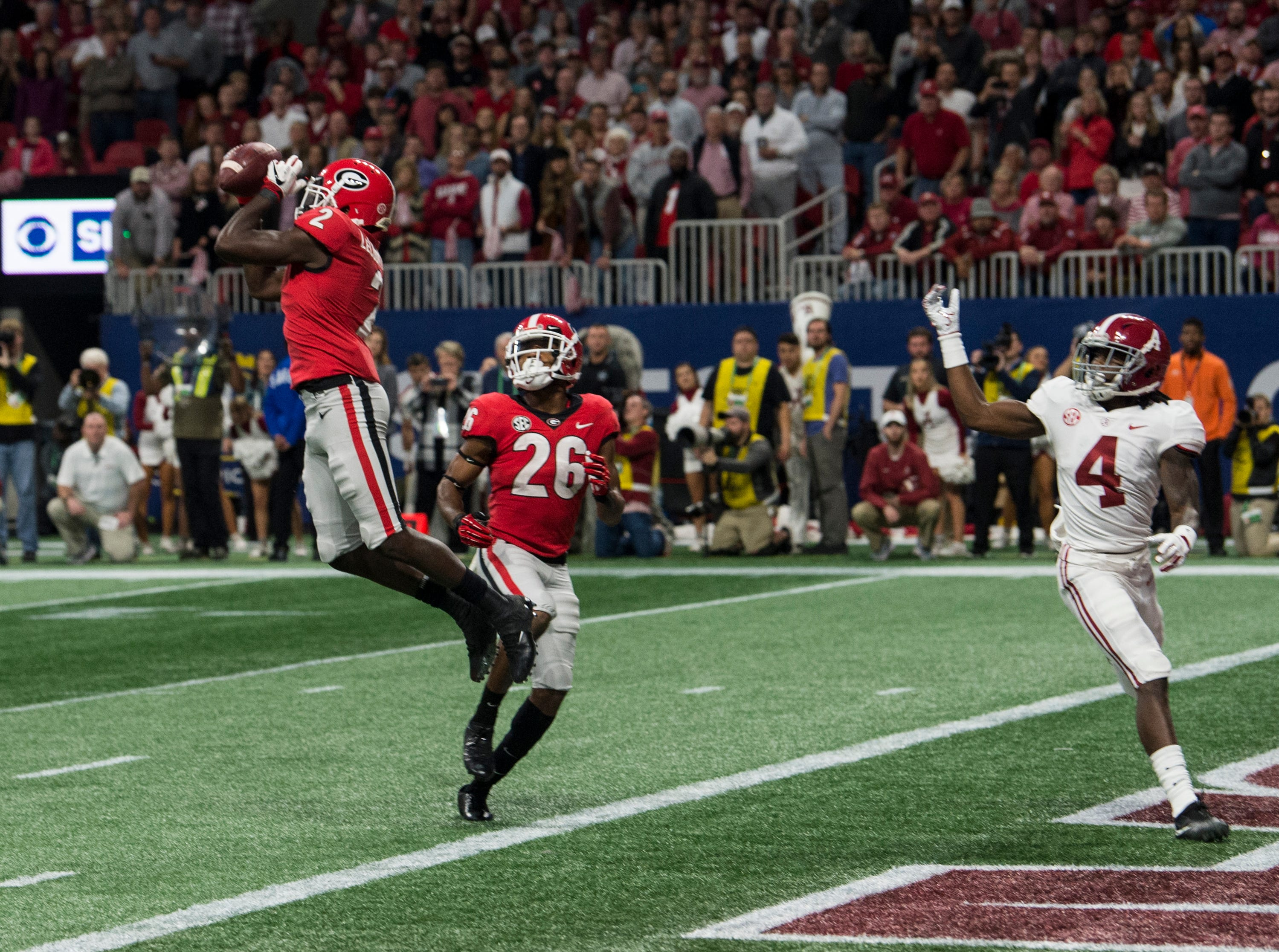 Georgia defensive back Richard LeCounte (2) intercepts a pass on the goal line during the SEC Championship game at Mercedes-Benz Stadium in Atlanta, Ga., on Saturday Dec. 1, 2018. Georgia leads Alabama 21-14 at halftime.